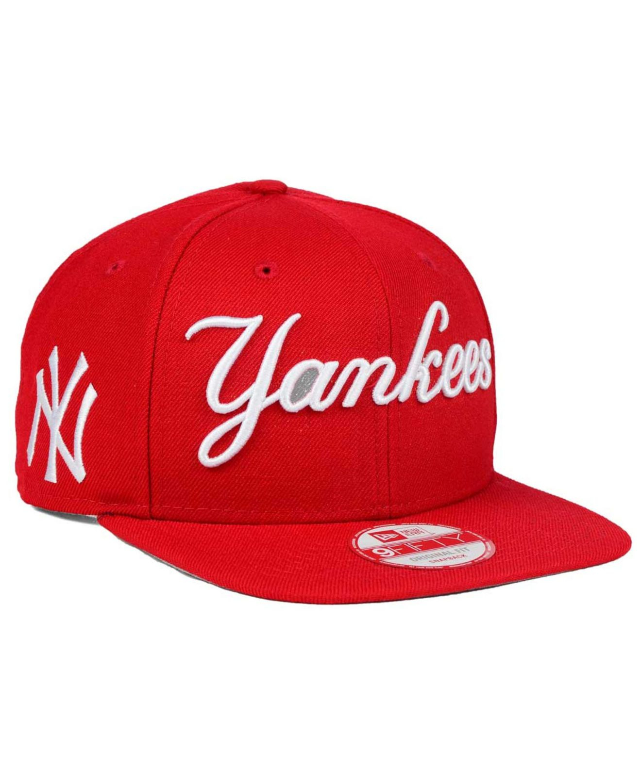 huge discount 7966b 23510 ... italy lyst ktz new york yankees xl script 9fifty snapback cap in red  for men 5357a