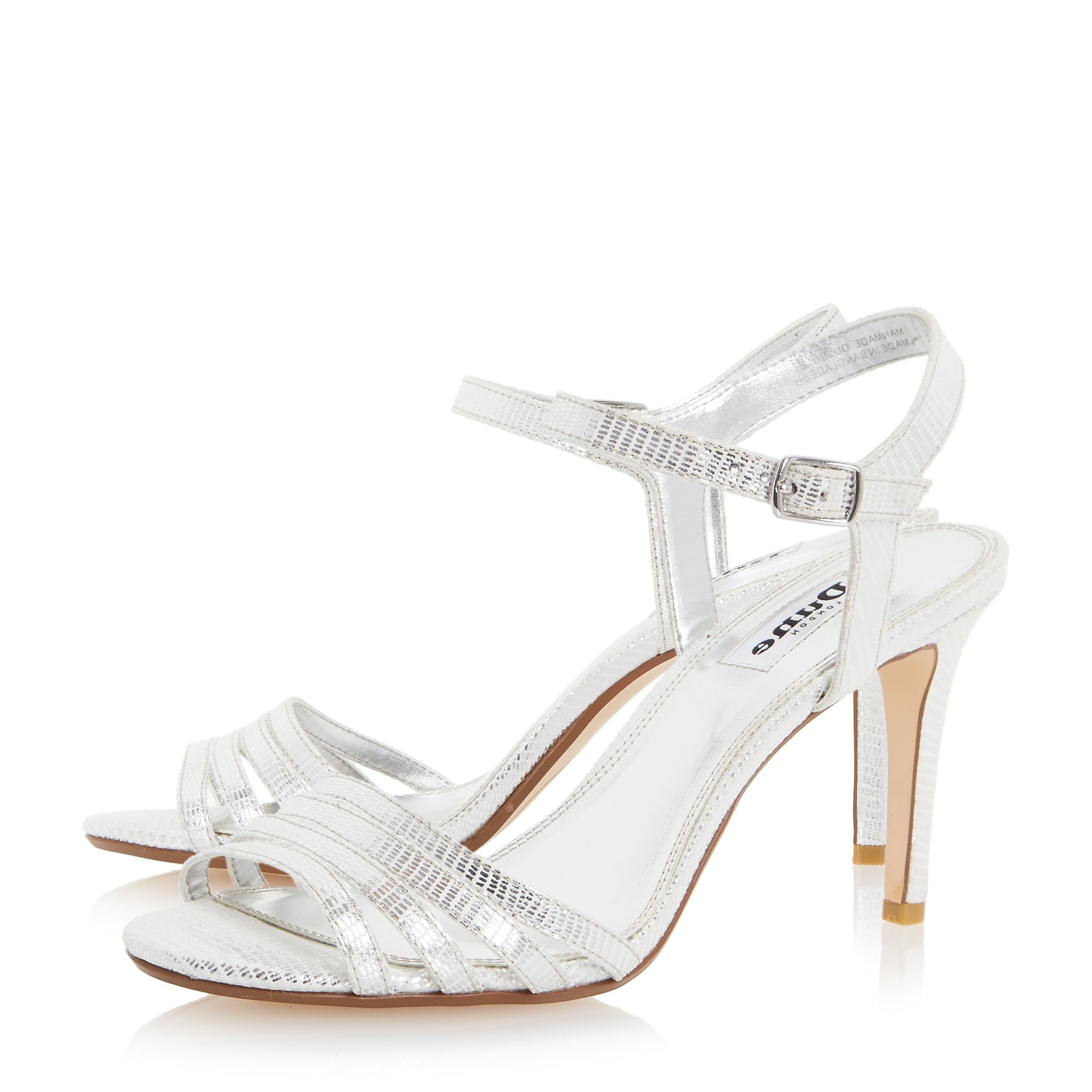 Dune Maci Strappy Two Part Mid Heel Sandals in White | Lyst