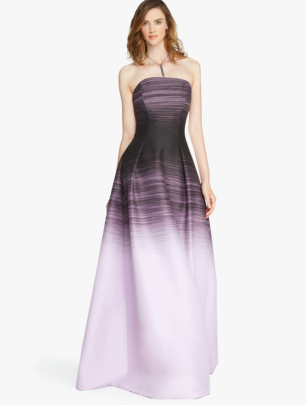 Halston Strapless Ombre Printed Structure Gown in Pink  Lyst
