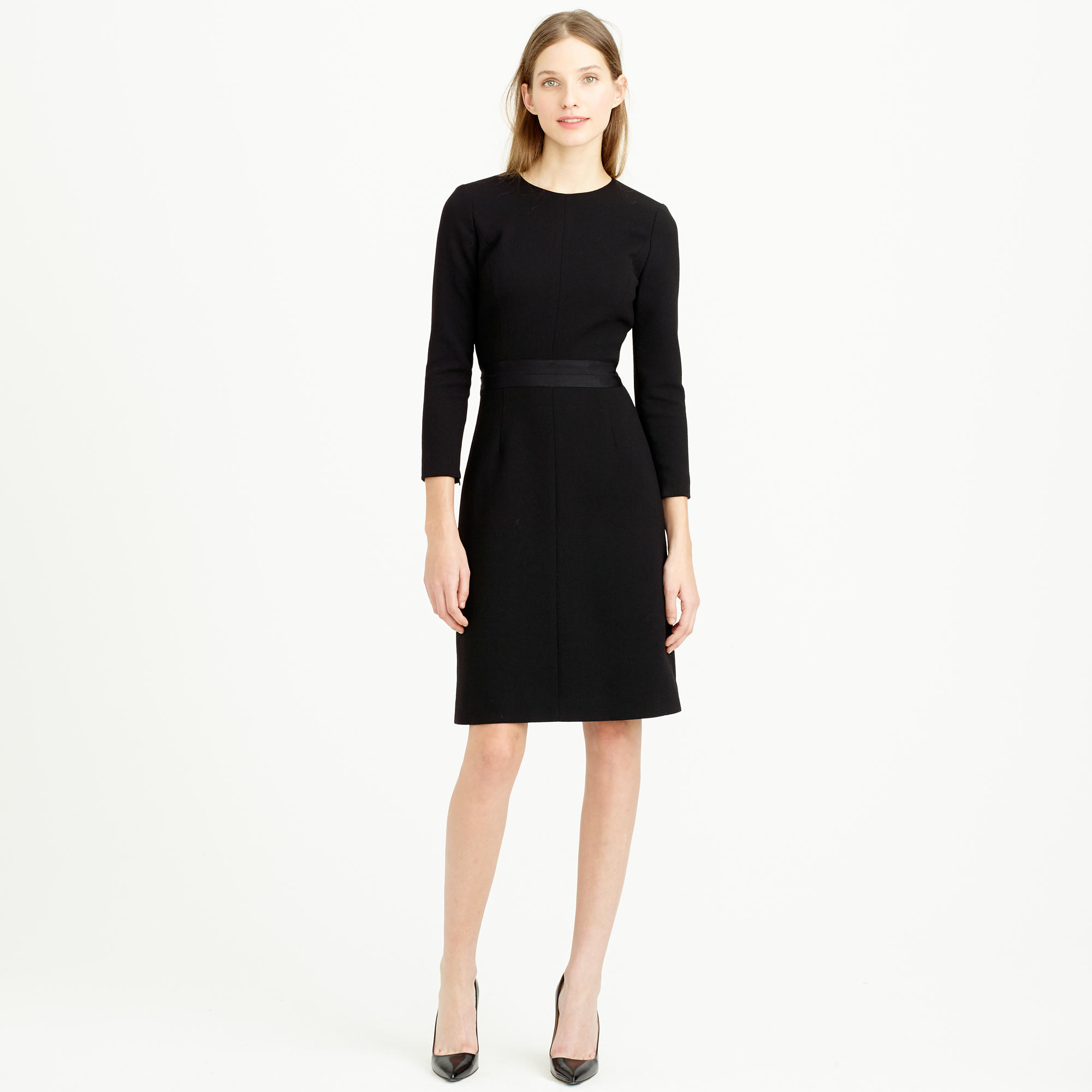 J Crew Double Faced Wool Crepe Dress In Black Lyst