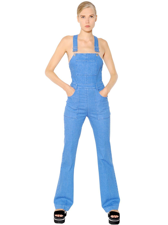 6d36198b6041f Lyst - Stella McCartney Stretch Cotton Denim Jumpsuit in Blue