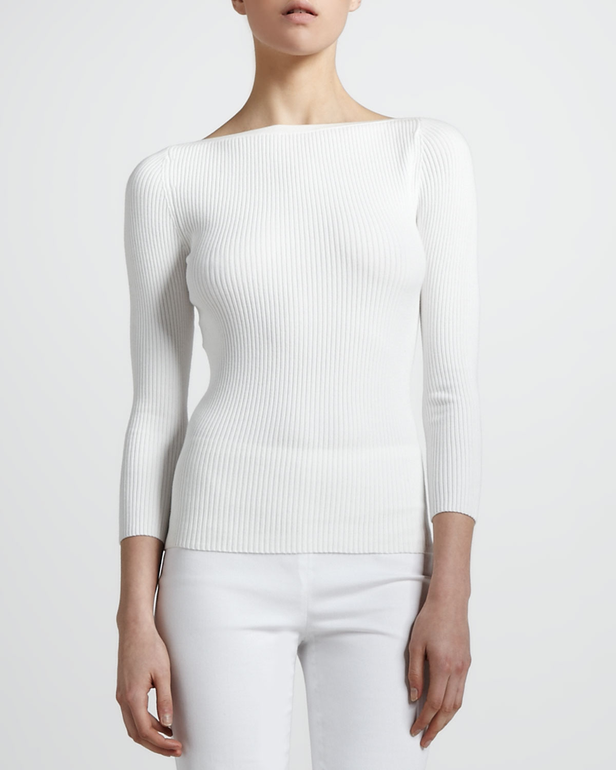 8aa7585f0a Lyst - Michael Kors Ribbed Boat-neck Sweater in White