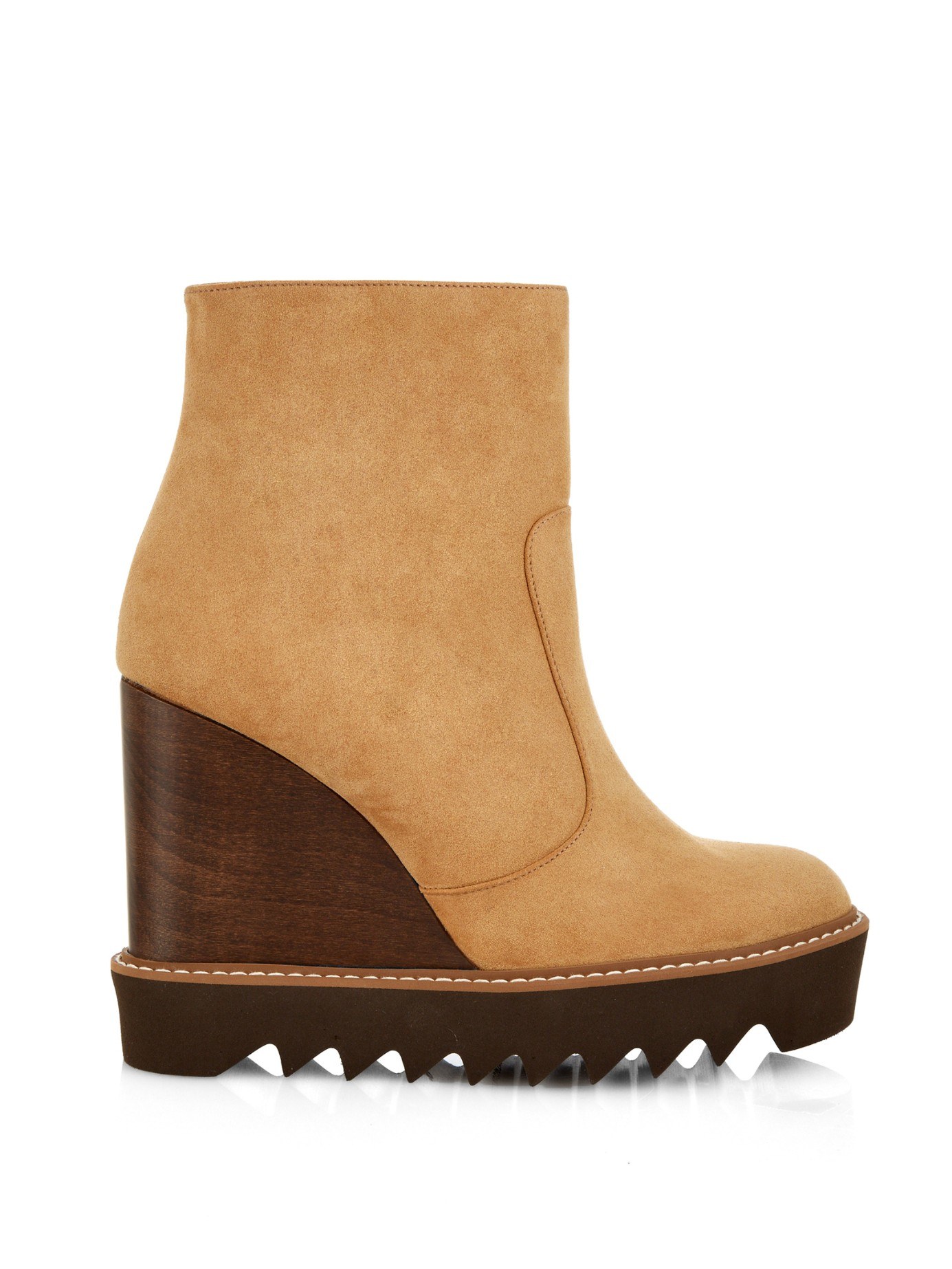 stella mccartney leana faux suede wedge boots in brown lyst