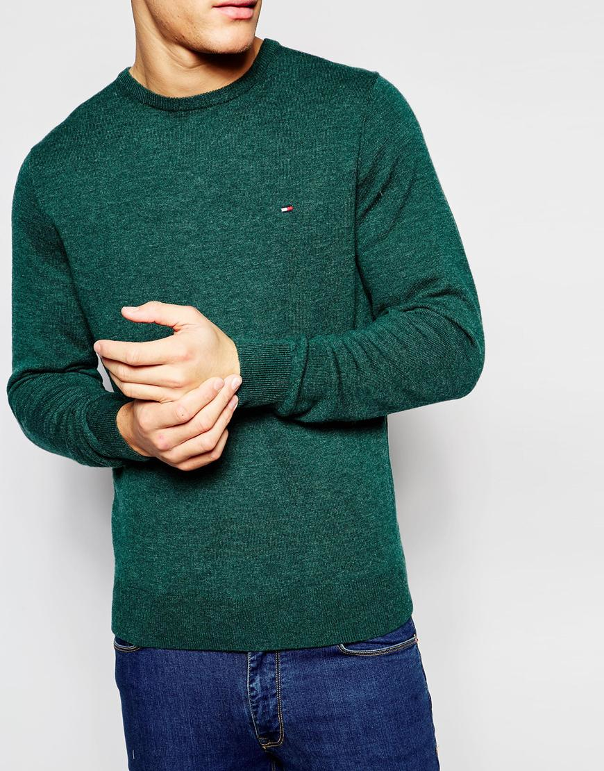 c0de06e564719e Lyst - Tommy Hilfiger Jumper In Cable Knit And Crew Neck in Green ...