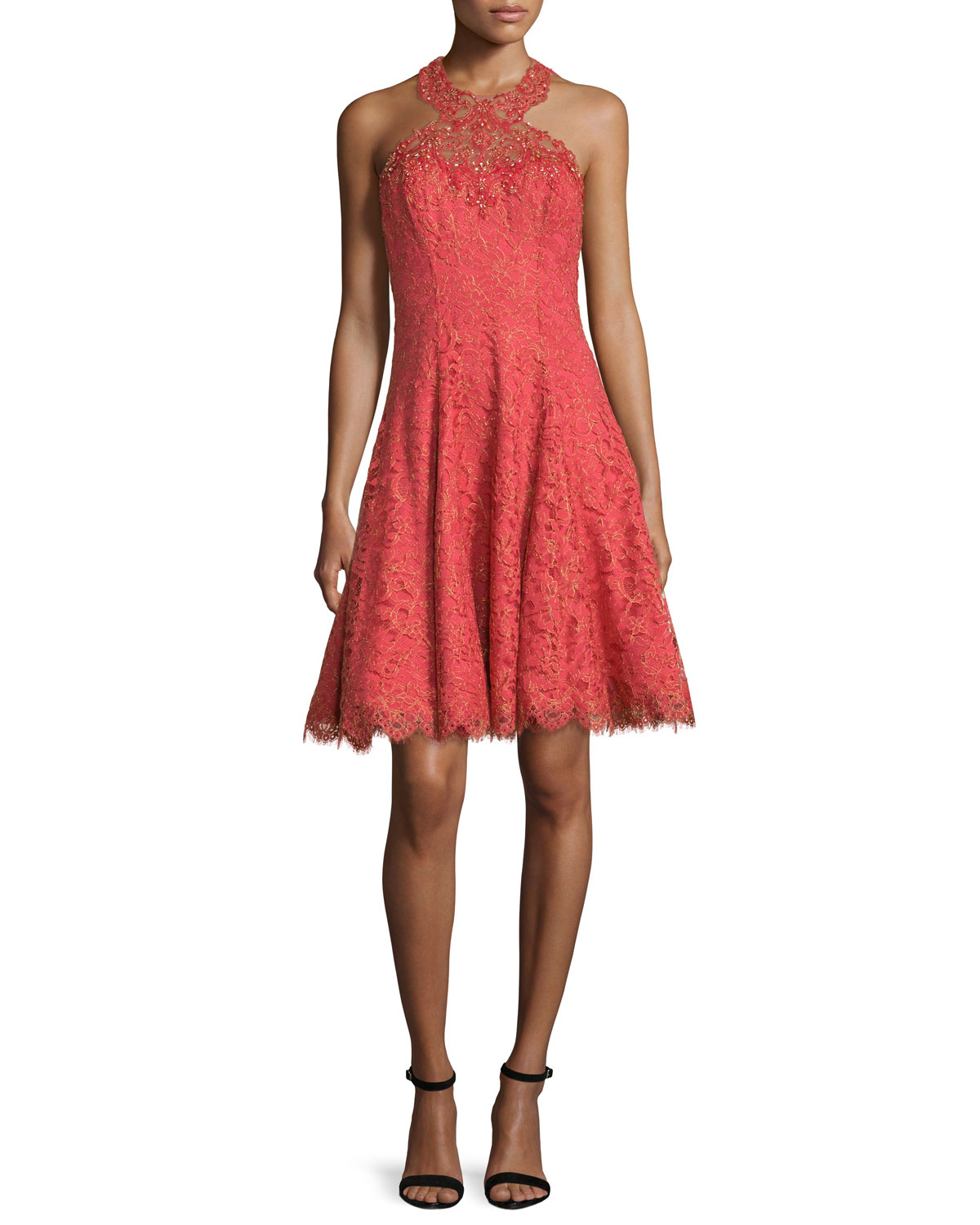 Notte by marchesa Metallic Lace Dress in Orange