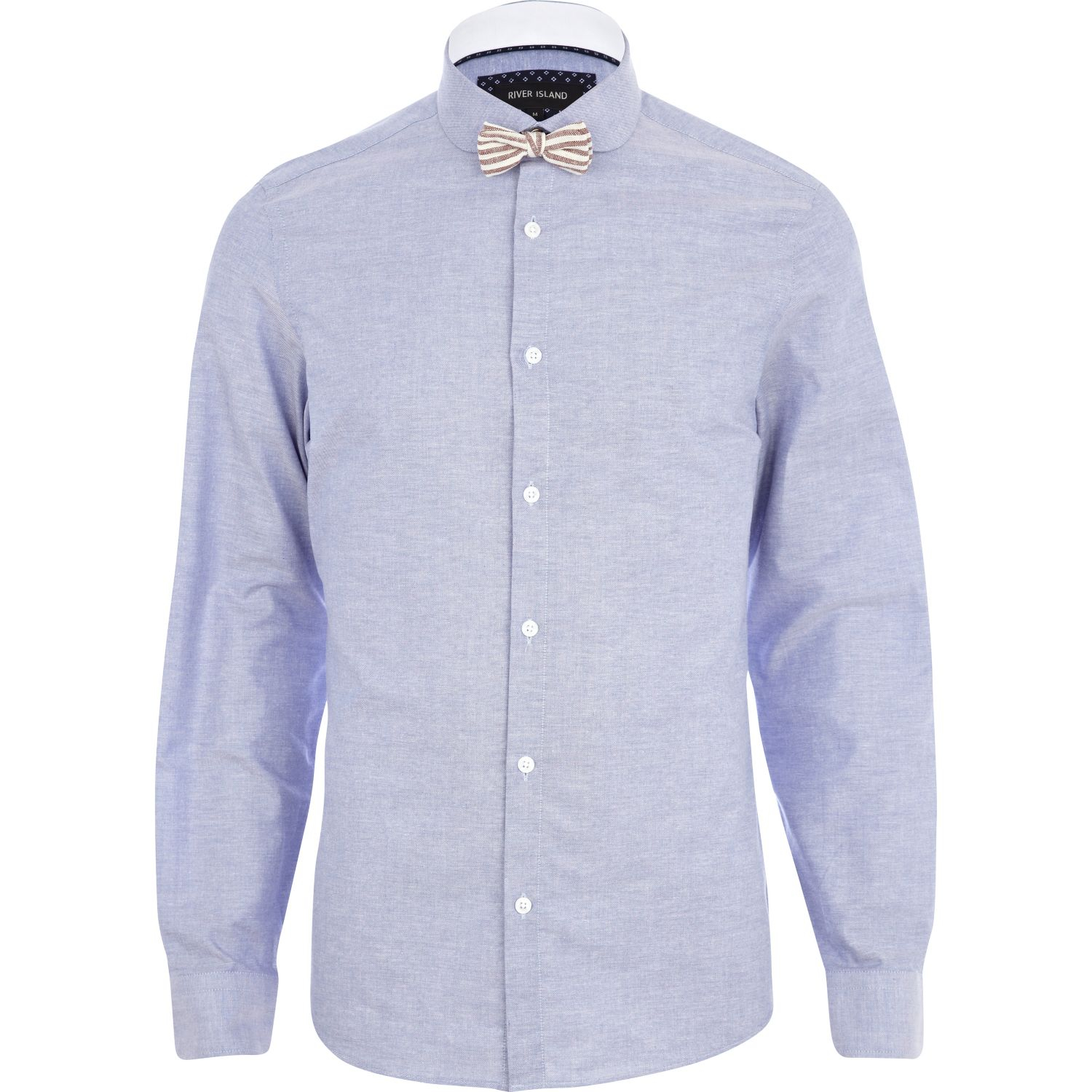 River Island Blue Penny Collar Bow Tie Shirt In Blue For