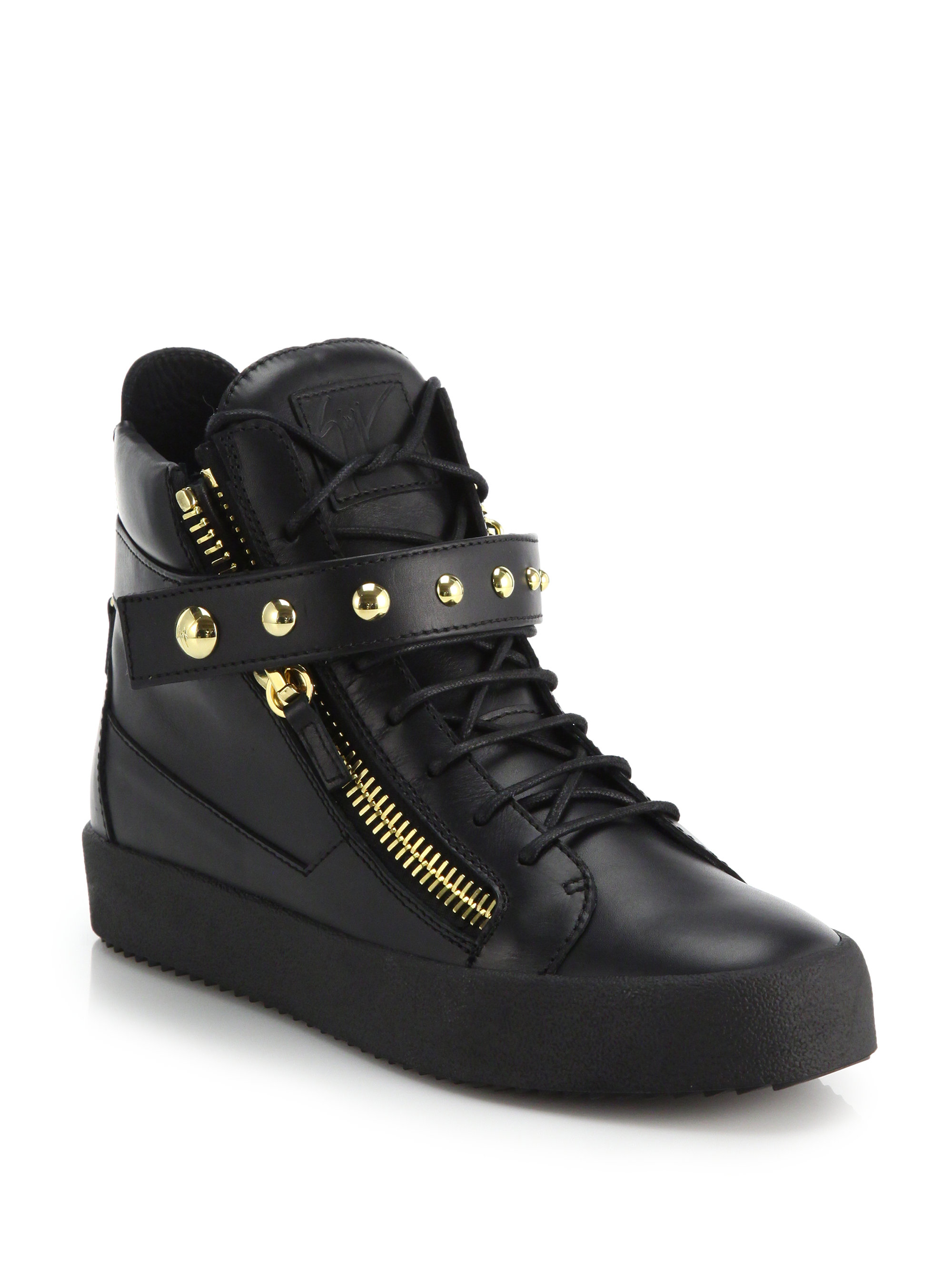 giuseppe zanotti studded leather high top sneakers