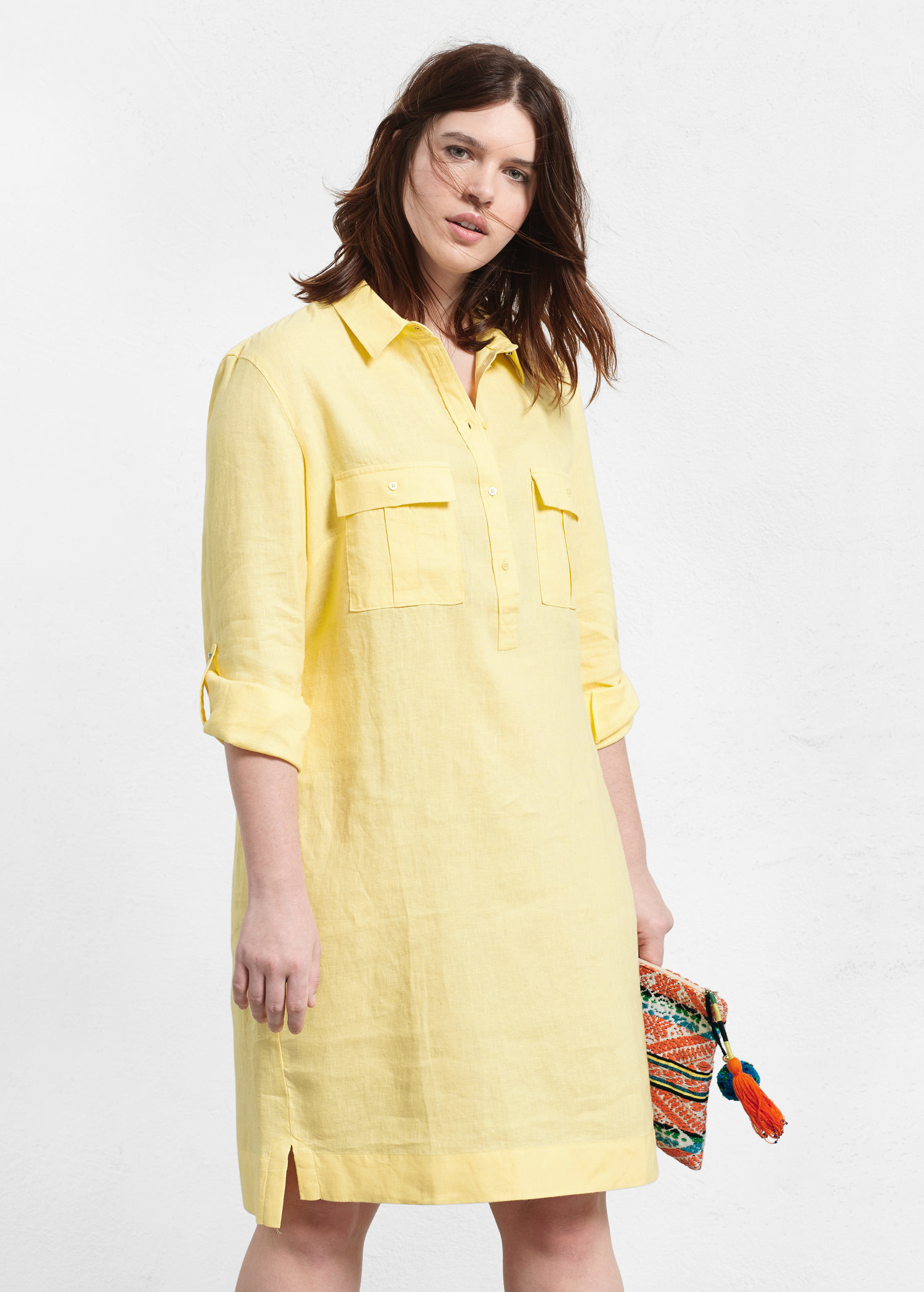 Yellow Linen Shirt Dress