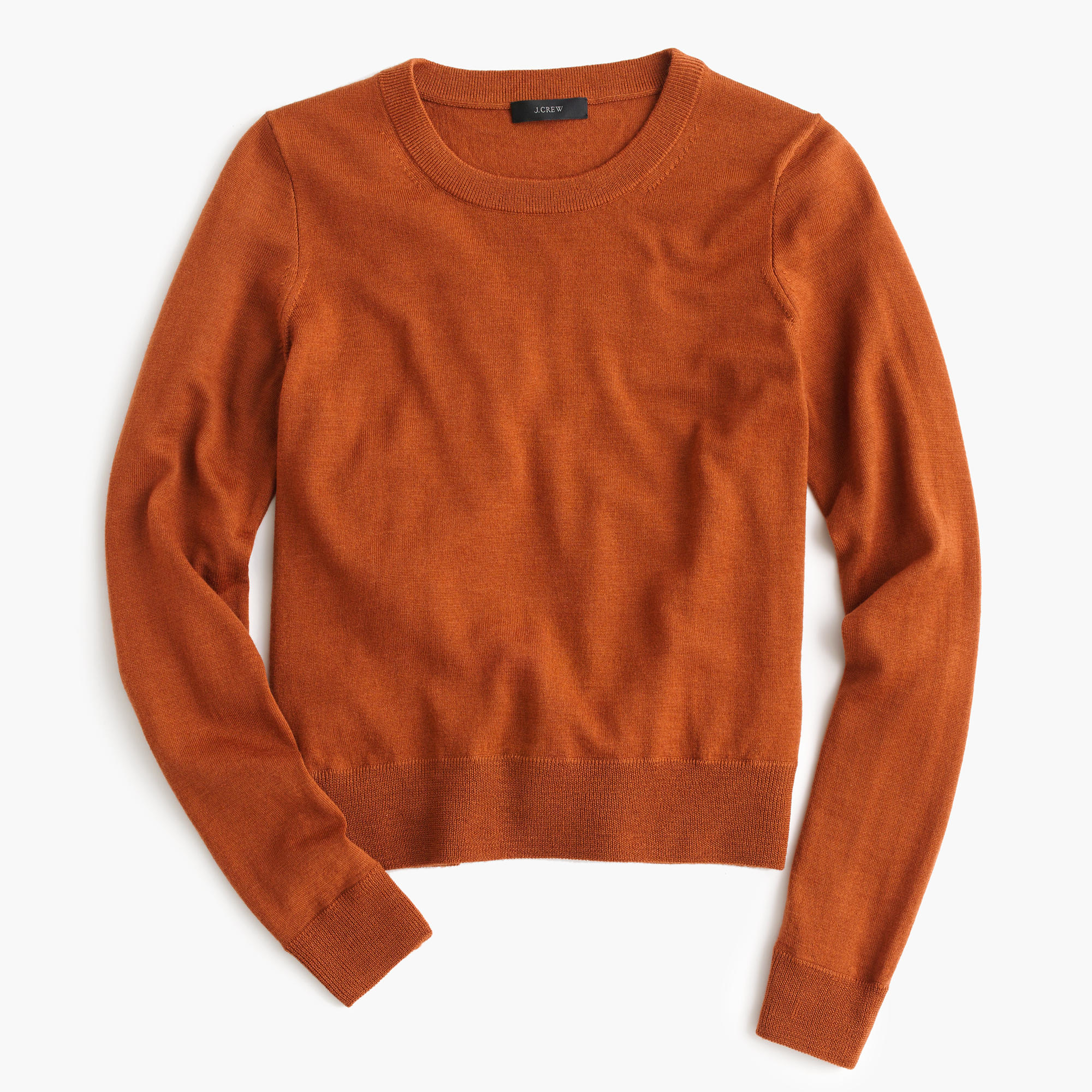 J.crew Merino Wool Crewneck Sweater in Brown | Lyst