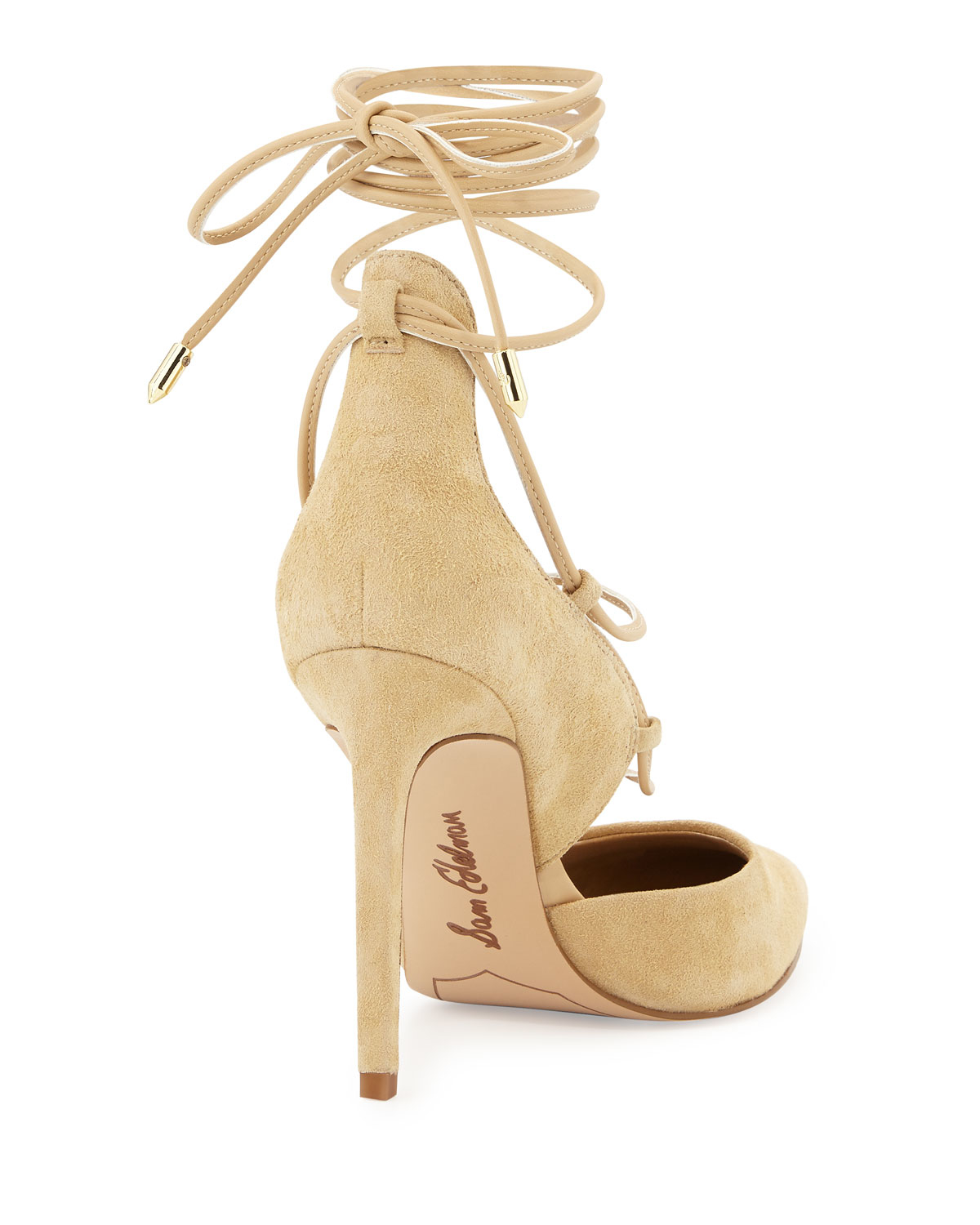 99a12240fb20 Lyst - Sam Edelman Dayna Suede Lace-up Pump in Natural