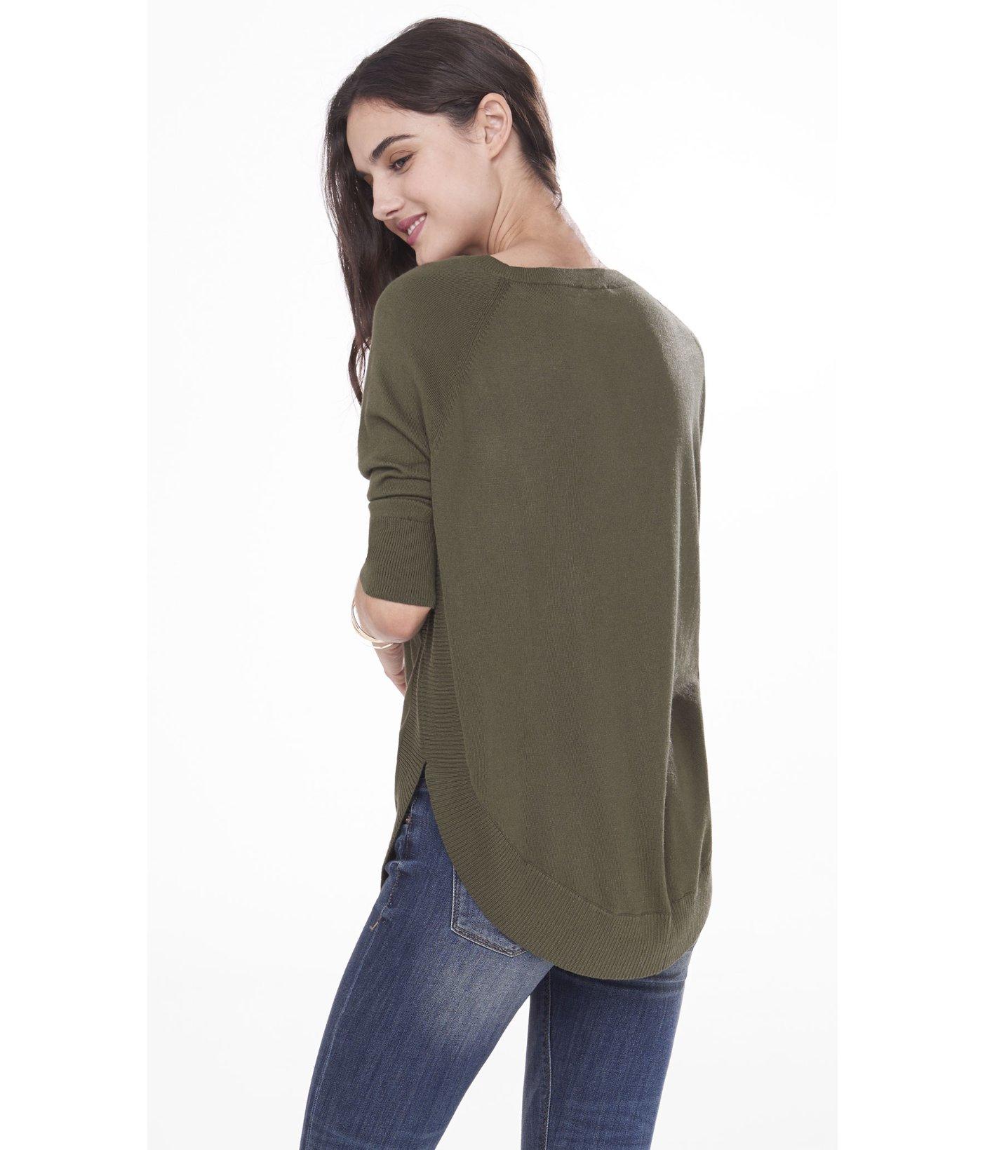 b0825c6ca Lyst - Express Extreme Circle Hem Tunic Sweater in Green