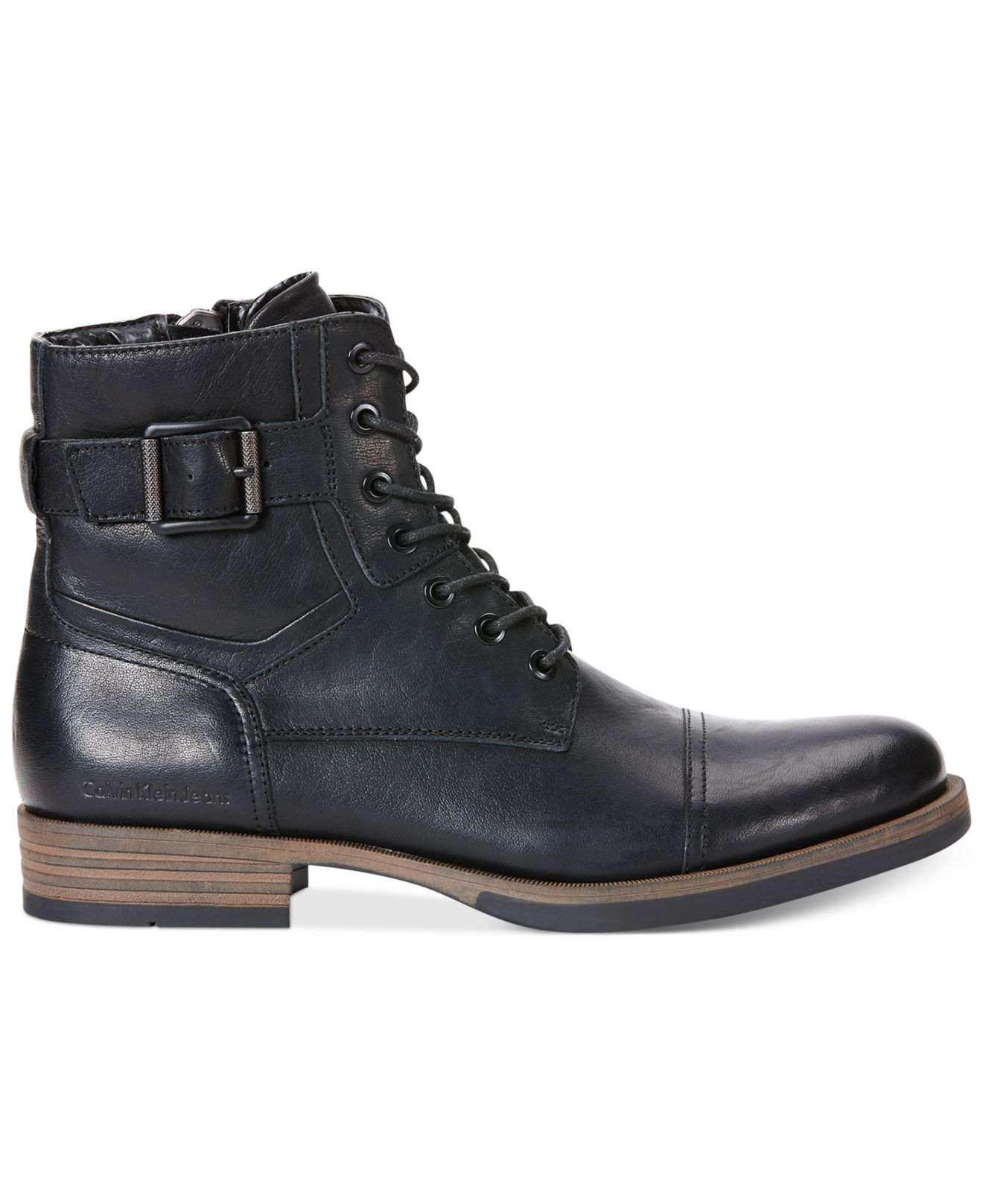 Calvin klein jeans Roberts Leather Boots in Black for Men ...