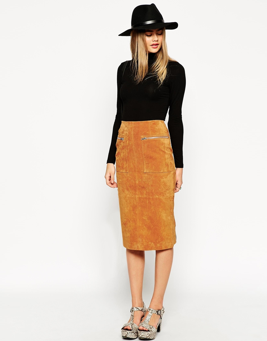 Asos Midi Pencil Skirt In Suede With Pockets And Curved Zip - Tan ...