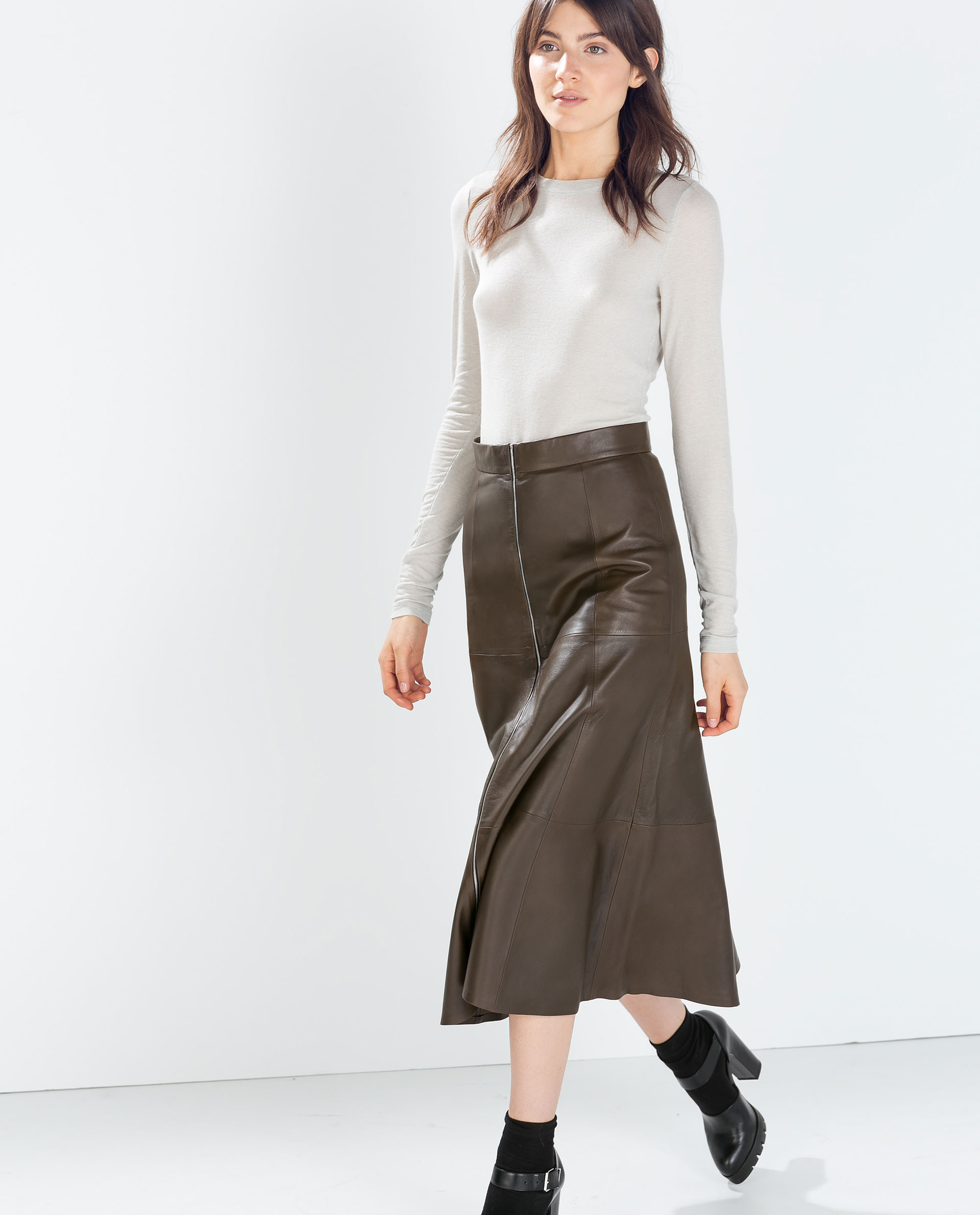 Khaki Green Leather Skirt - Dress Ala