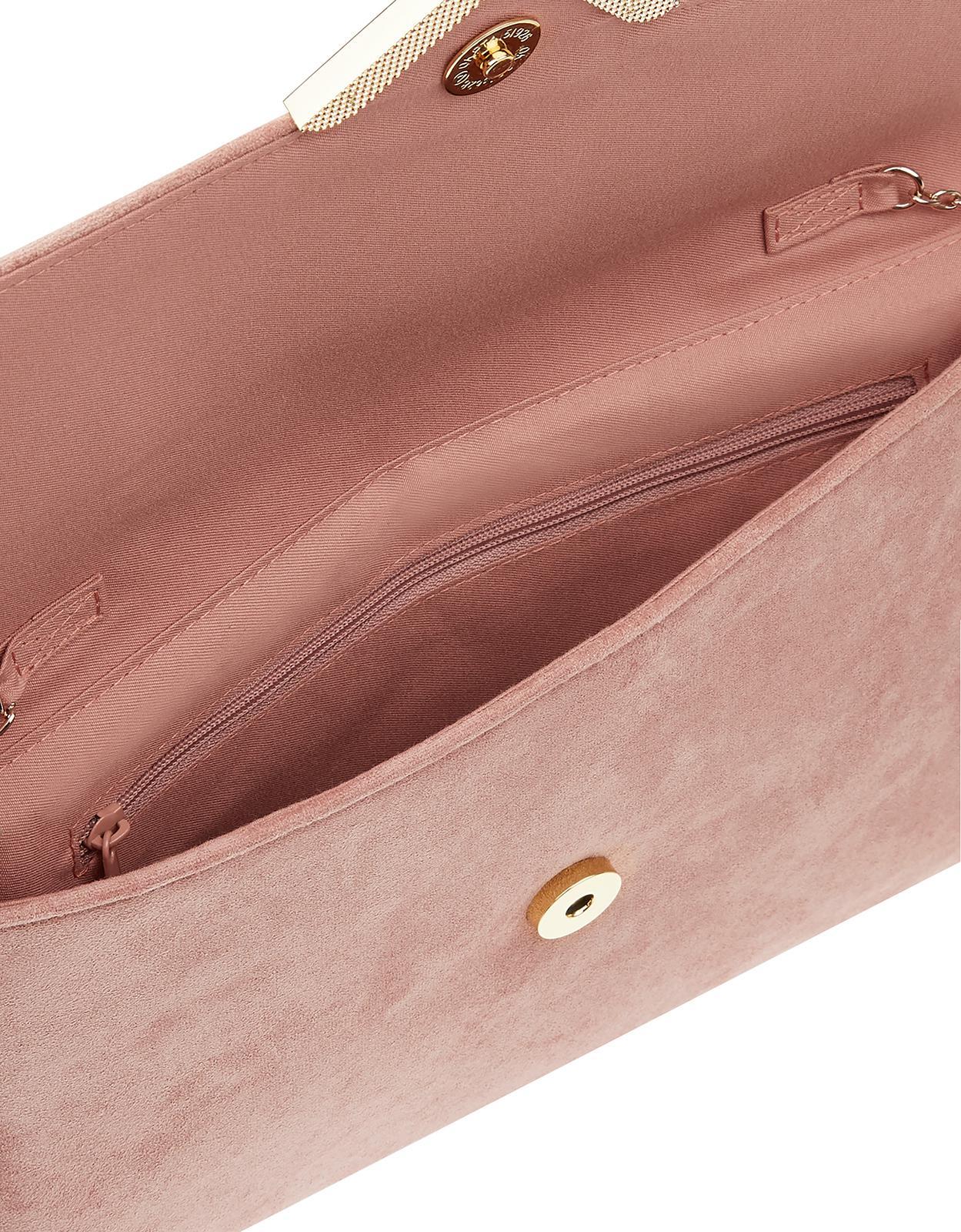 fc622d0b8 Accessorize - Pink Natalie Suedette Envelope Clutch Bag - Lyst. View  fullscreen
