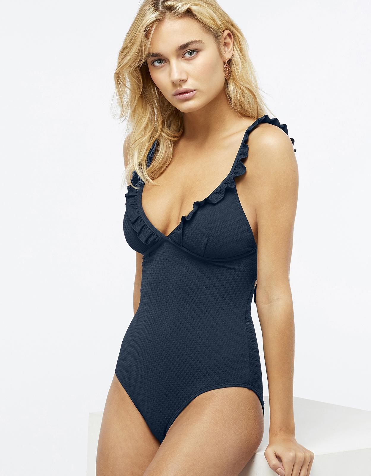 4b7c7f6ce3 Accessorize Ruffle Swimsuit in Blue - Lyst