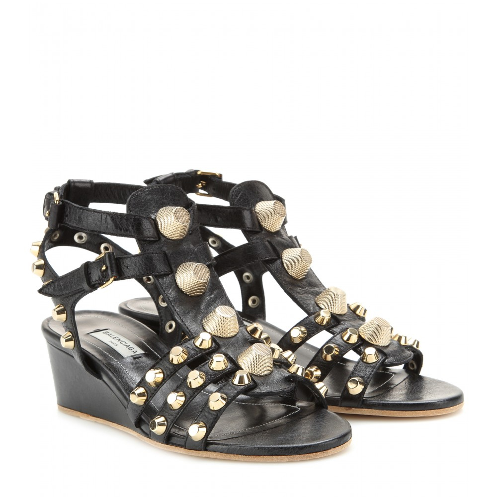 balenciaga studded leather wedge sandals in black lyst