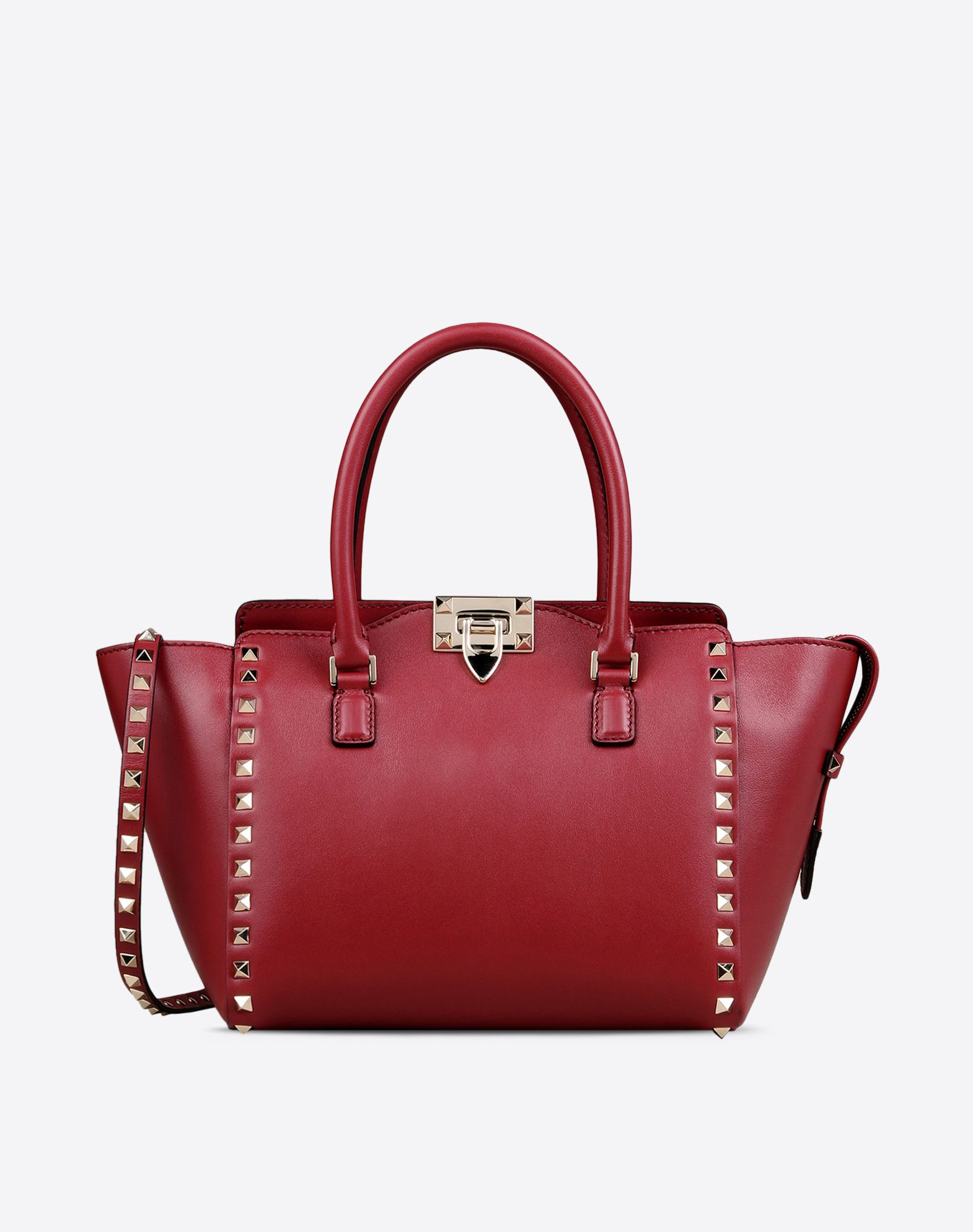 Valentino Rockstud Small Leather Double Handle Bag In Red