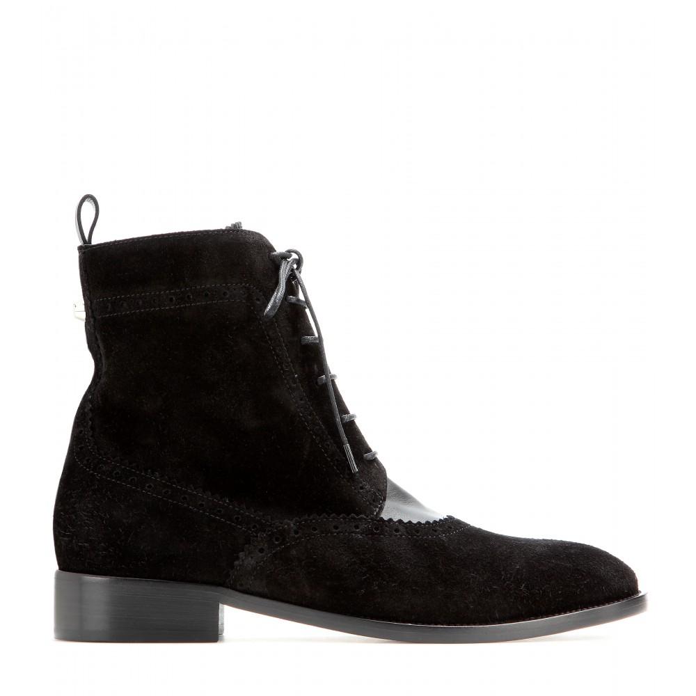 Balenciaga Suede Brogue Chelsea Boots in Black | Lyst