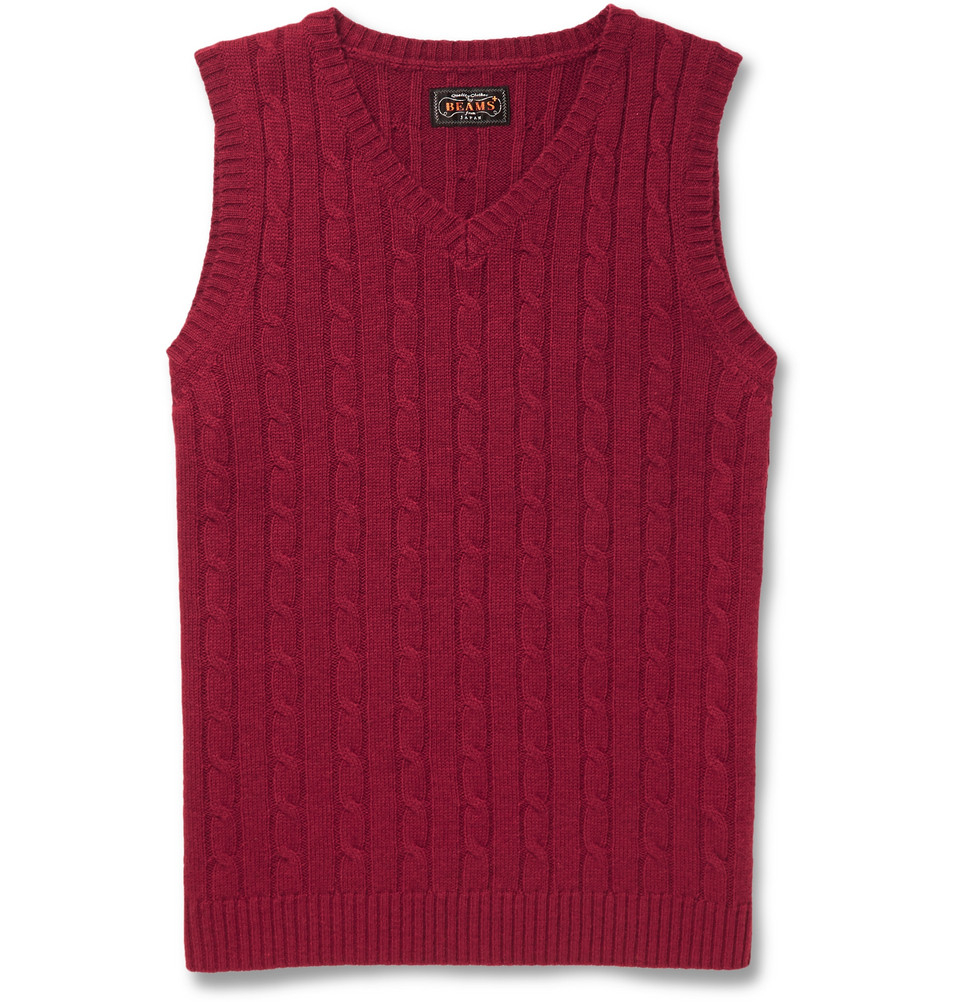 Beams plus Cable-Knit Merino Wool Sleeveless Sweater in Red for ...