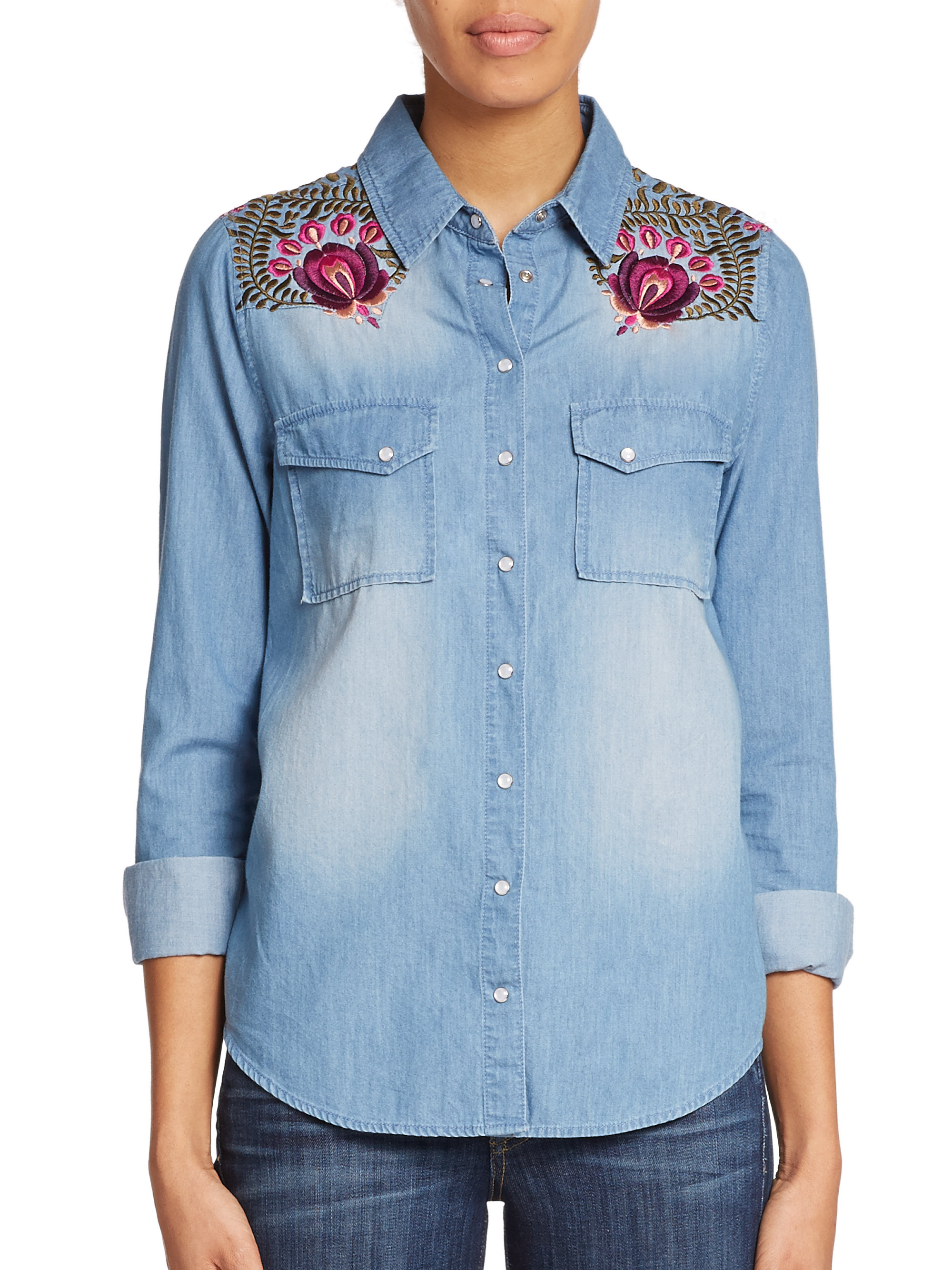 Haute hippie embroidered chambray shirt in blue chambray for Blue chambray shirt women s