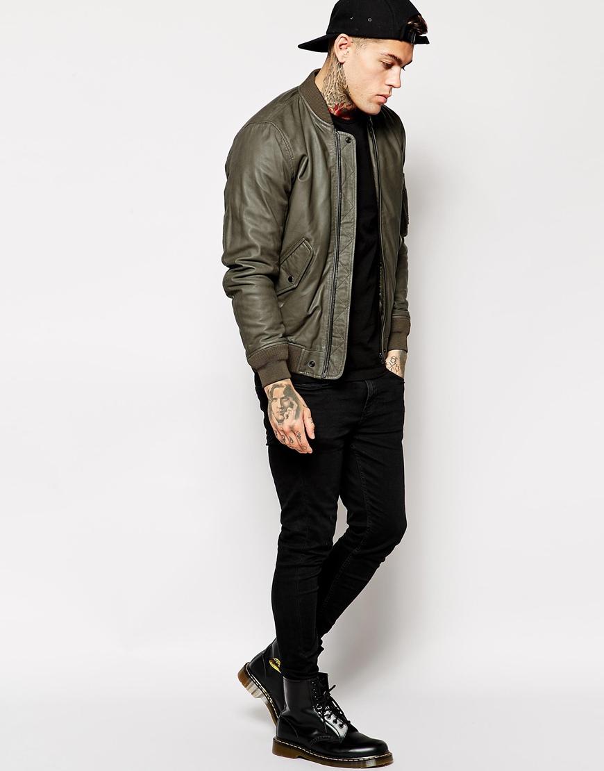 Green Leather Bomber Jacket - Coat Nj