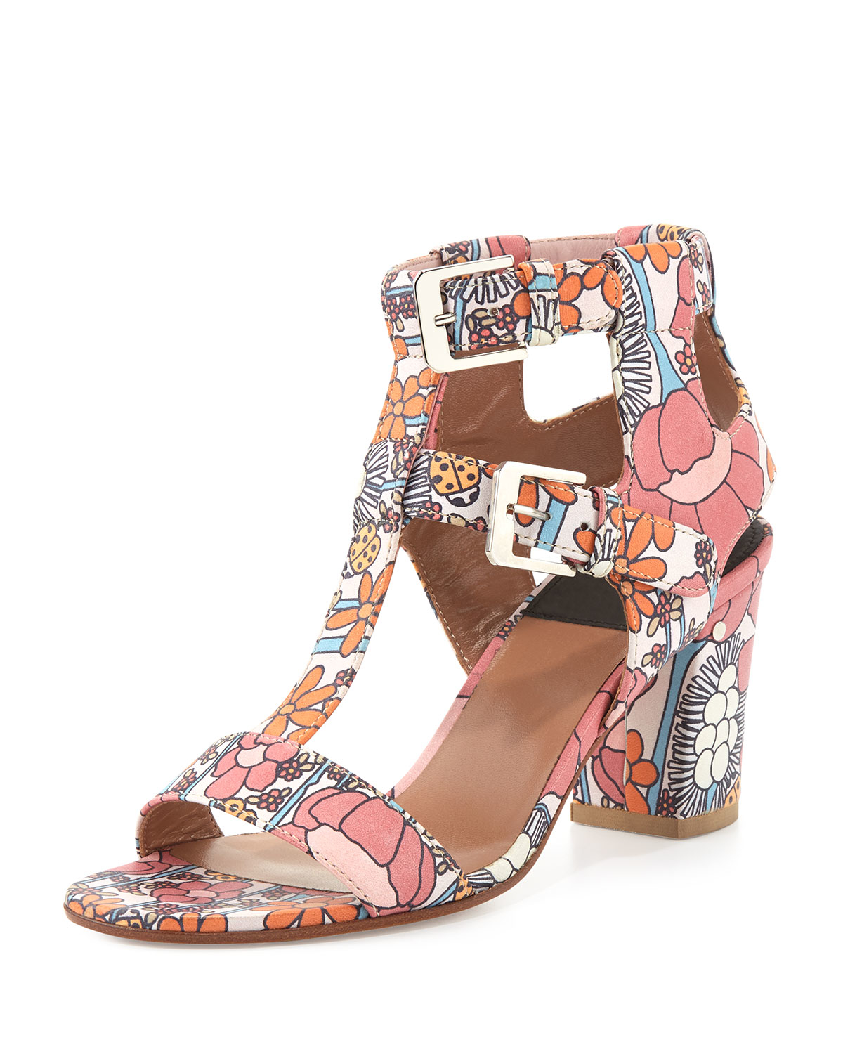 Lyst laurence dacade diane leather floral print sandals in pink gallery mightylinksfo