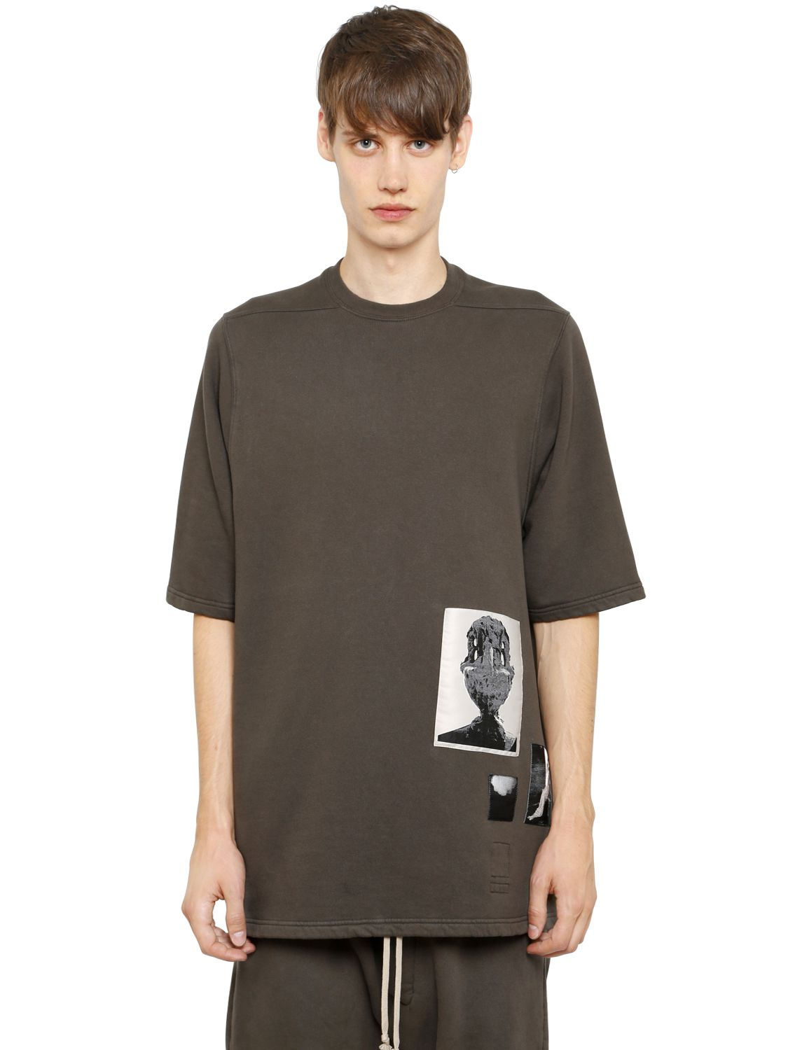 Lyst Rick Owens Drkshdw Patches On Cotton Sweatshirt In Gray For Men