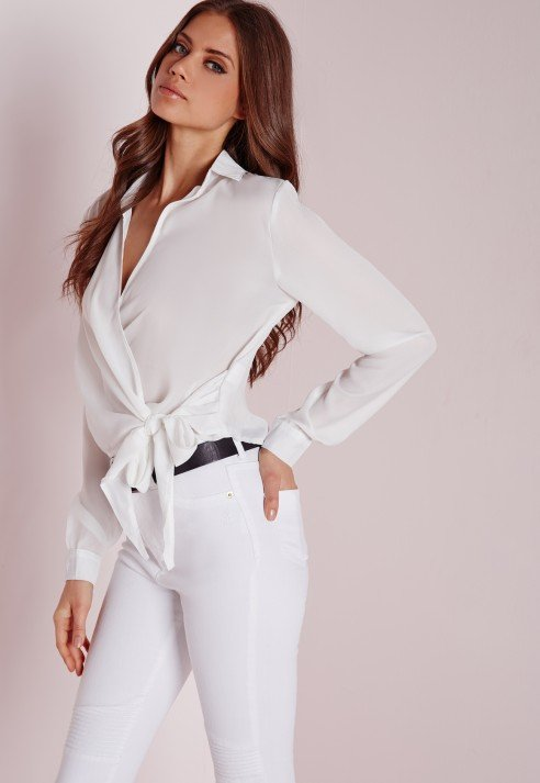 Lyst Missguided Wrap Over Tie Side Blouse Ivory In White