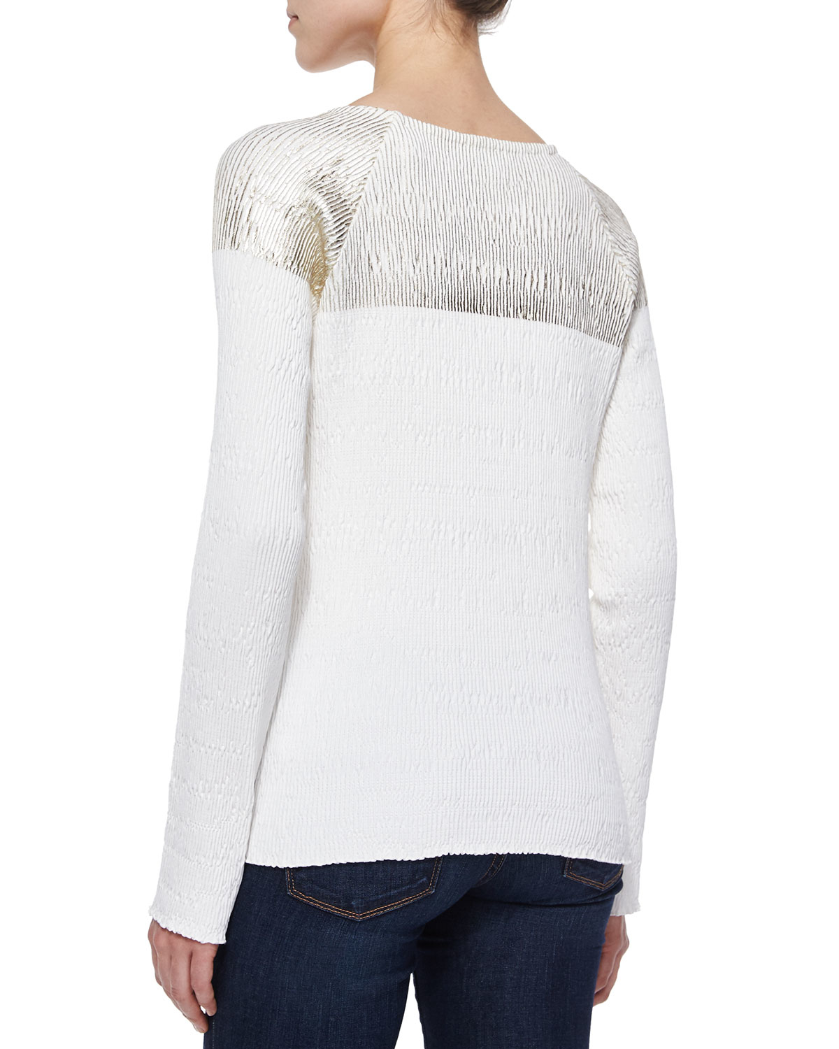 Suno long sleeve colorblock top in white lyst for Adam lippes women s long sleeve vee t shirt
