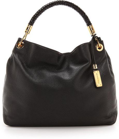 3fbb79b4c48f82 Michael Kors Skorpios Large Shoulder Bag Black Leather | Stanford ...