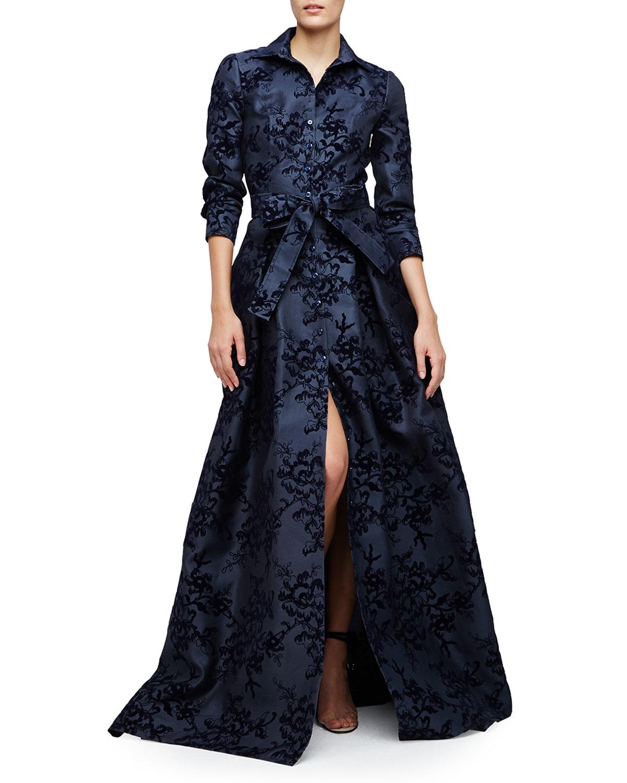 Lyst Carolina Herrera Floral Embellished Trenchcoat Gown