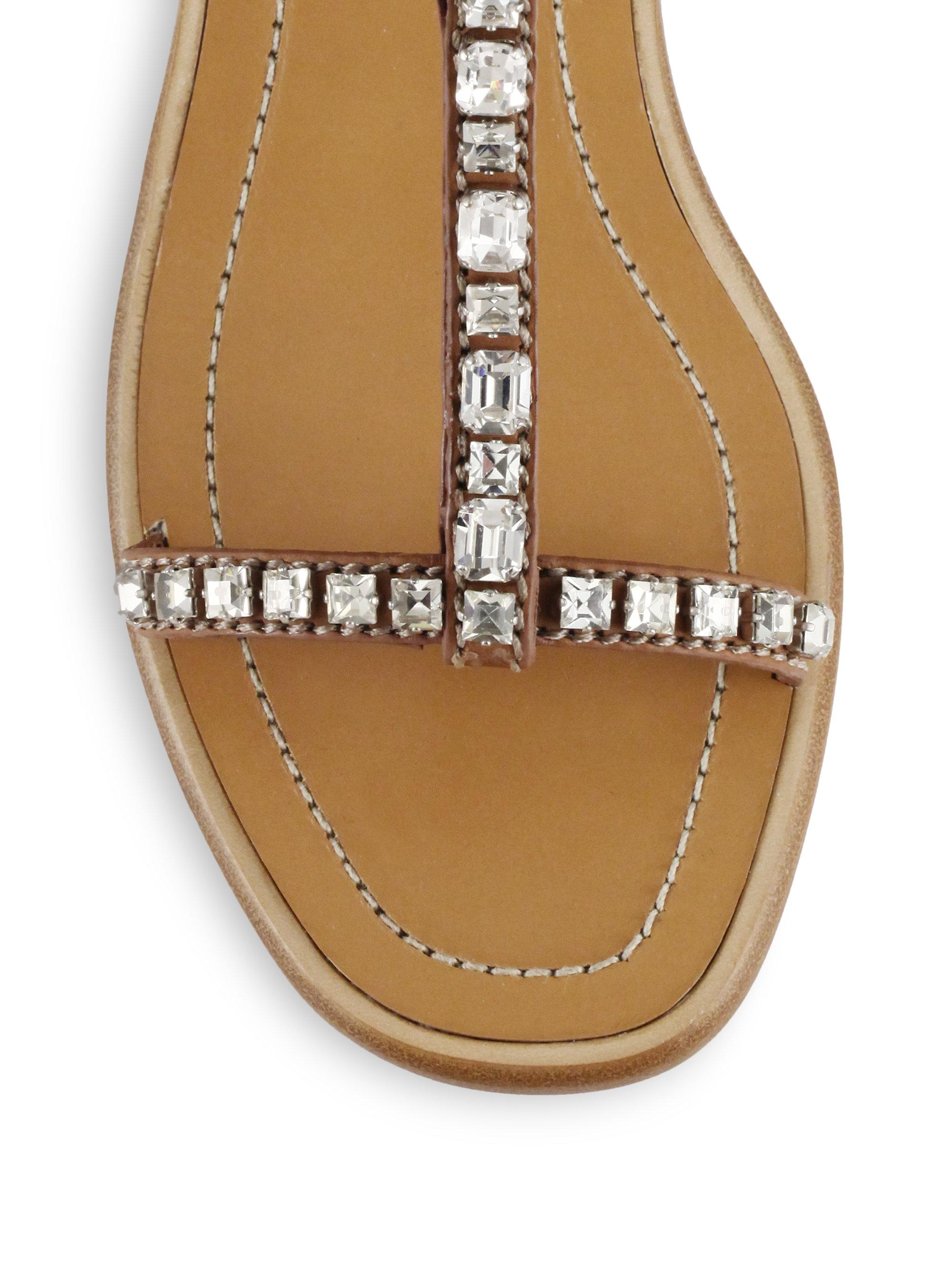 e30f27fa70b63 Lyst - Prada Swarovski Crystal Leather Sandals in Brown