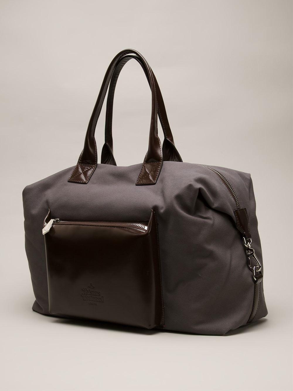 Vivienne Westwood Gray Punk Pocket Canvas Weekender Bag For Men