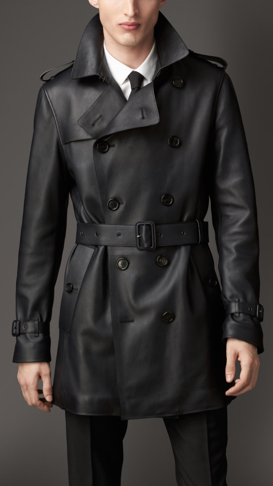 Burberry Leather Trench Coat In Blue For Men Lyst