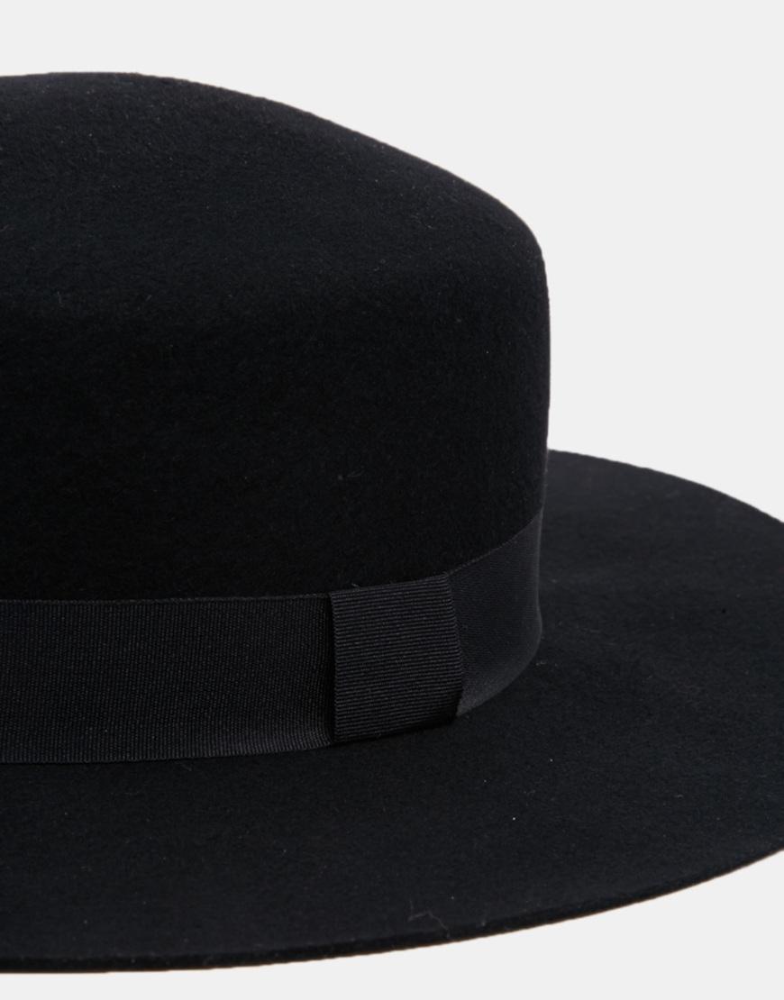 8db0e50833d Lyst Asos Flat Top Hat In Black Felt With Wide Brim For Men