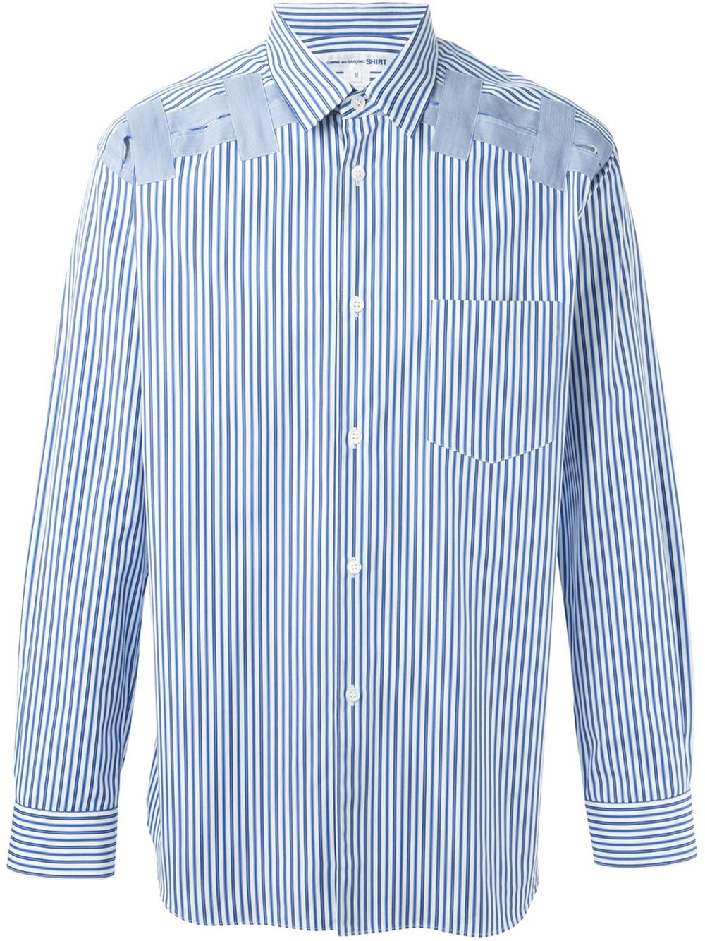 comme des gar ons striped patch shirt in blue for men lyst. Black Bedroom Furniture Sets. Home Design Ideas
