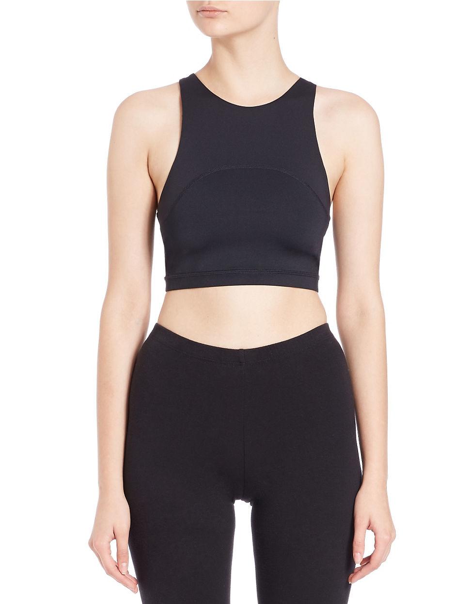 Kensie racerback sports bra in black lyst for Racerback t shirt bra