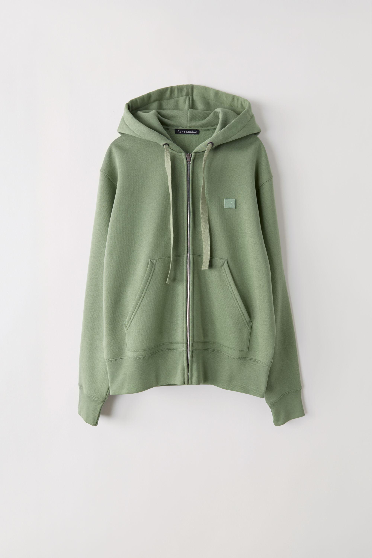 Acne Studios Ferris Zip Face Dusty Green Hooded Sweatshirt in Green ... d63a467df4