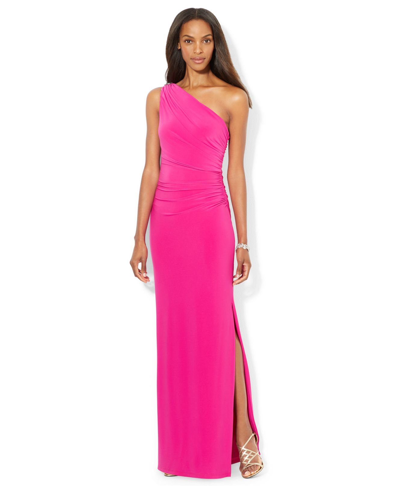 Lyst - Lauren By Ralph Lauren One-Shoulder Evening Gown in Pink
