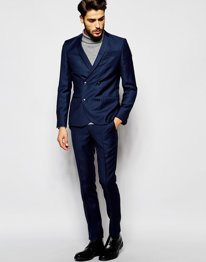 Noak Textured Double Breasted Suit Jacket In Super Skinny Fit