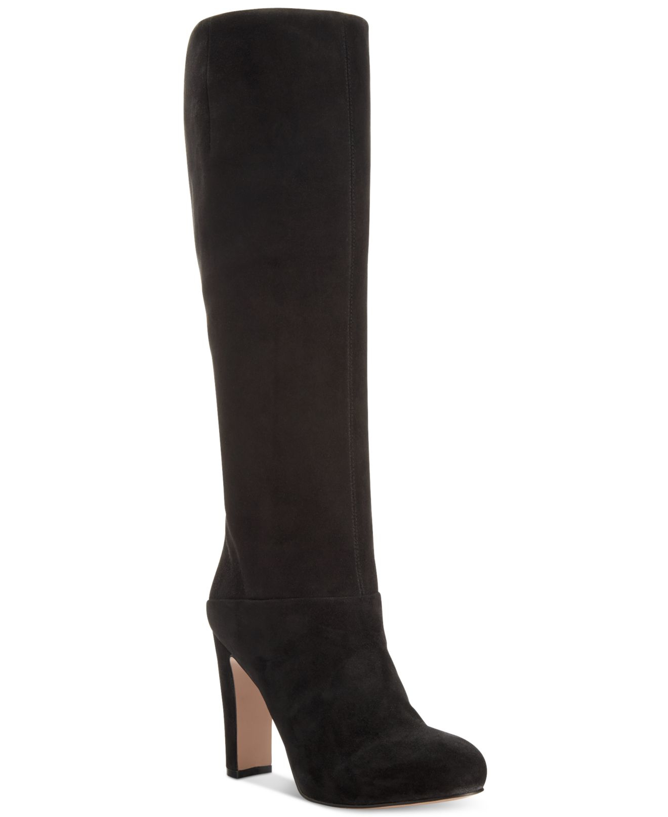 Nine west Gofish Suede Tall Dress Boots in Black | Lyst