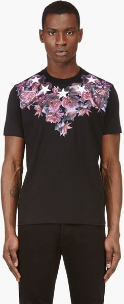 Givenchy black rose and star print t shirt in black for for Givenchy star t shirt