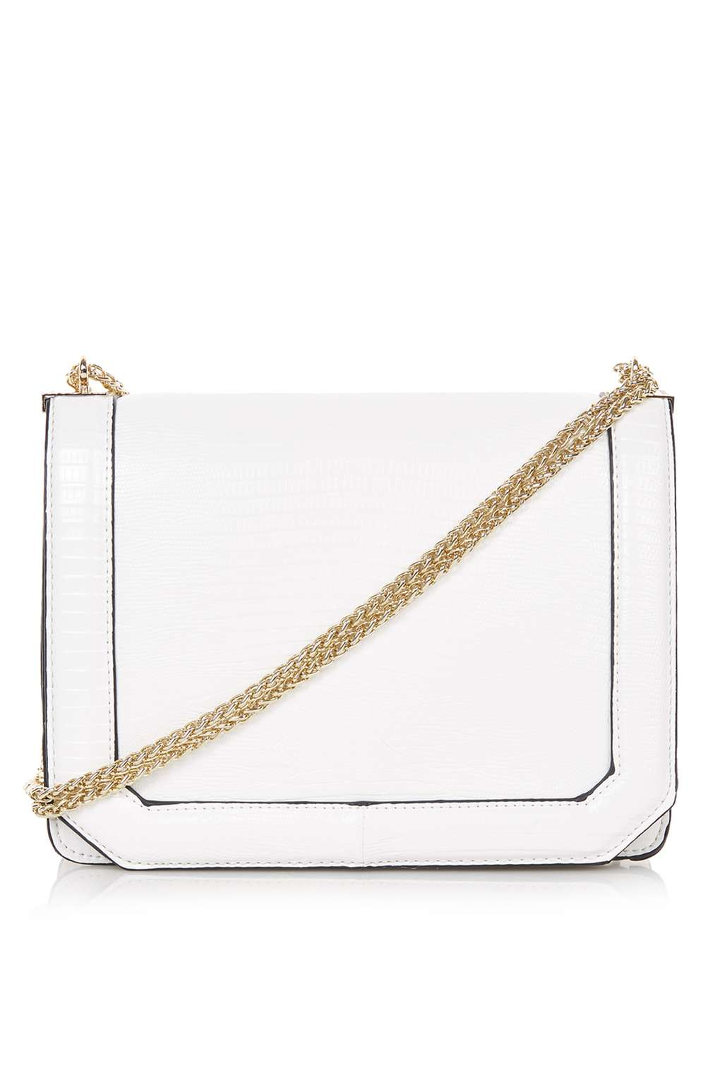 39fdfa46945 TOPSHOP Smart Chain Strap Crossbody Bag in White - Lyst