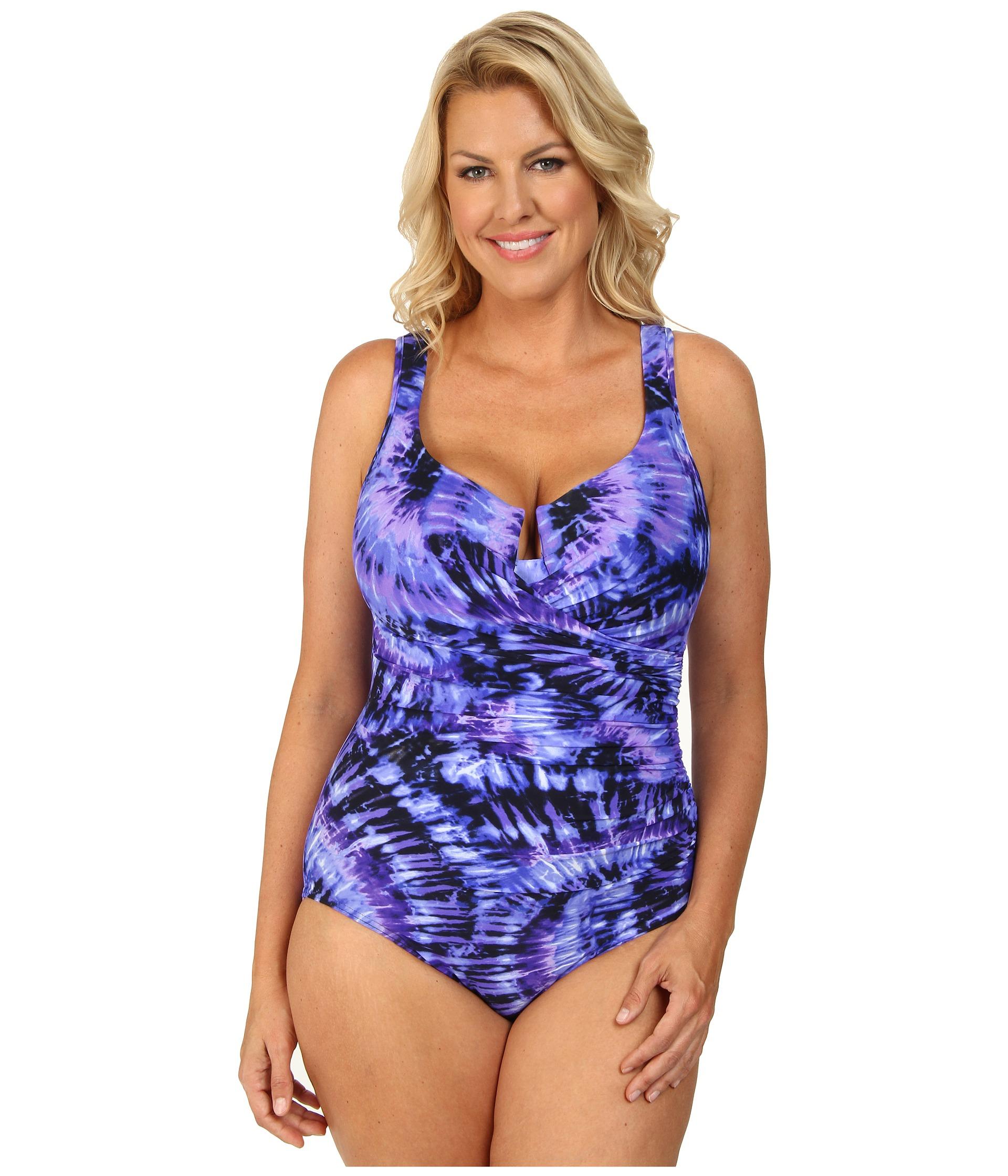 d66e6825a4d7f Lyst - Miraclesuit Plus Size Fandance Escape Swimsuit in Purple