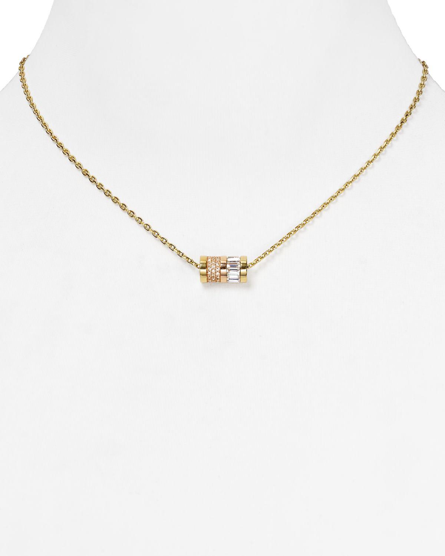 Lyst Michael Kors Barrel Pendant Necklace 16 in Metallic