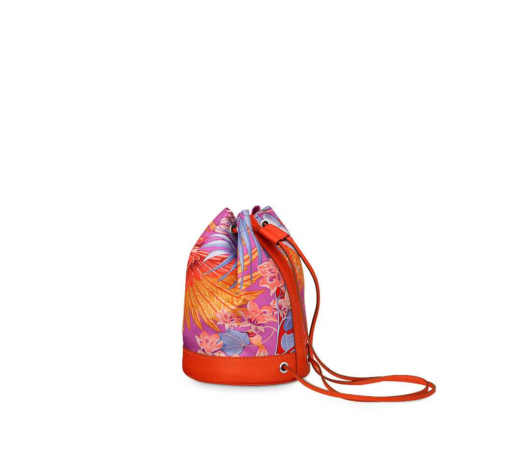 hermes Soie Cool small cyclamen pink/capucine orange