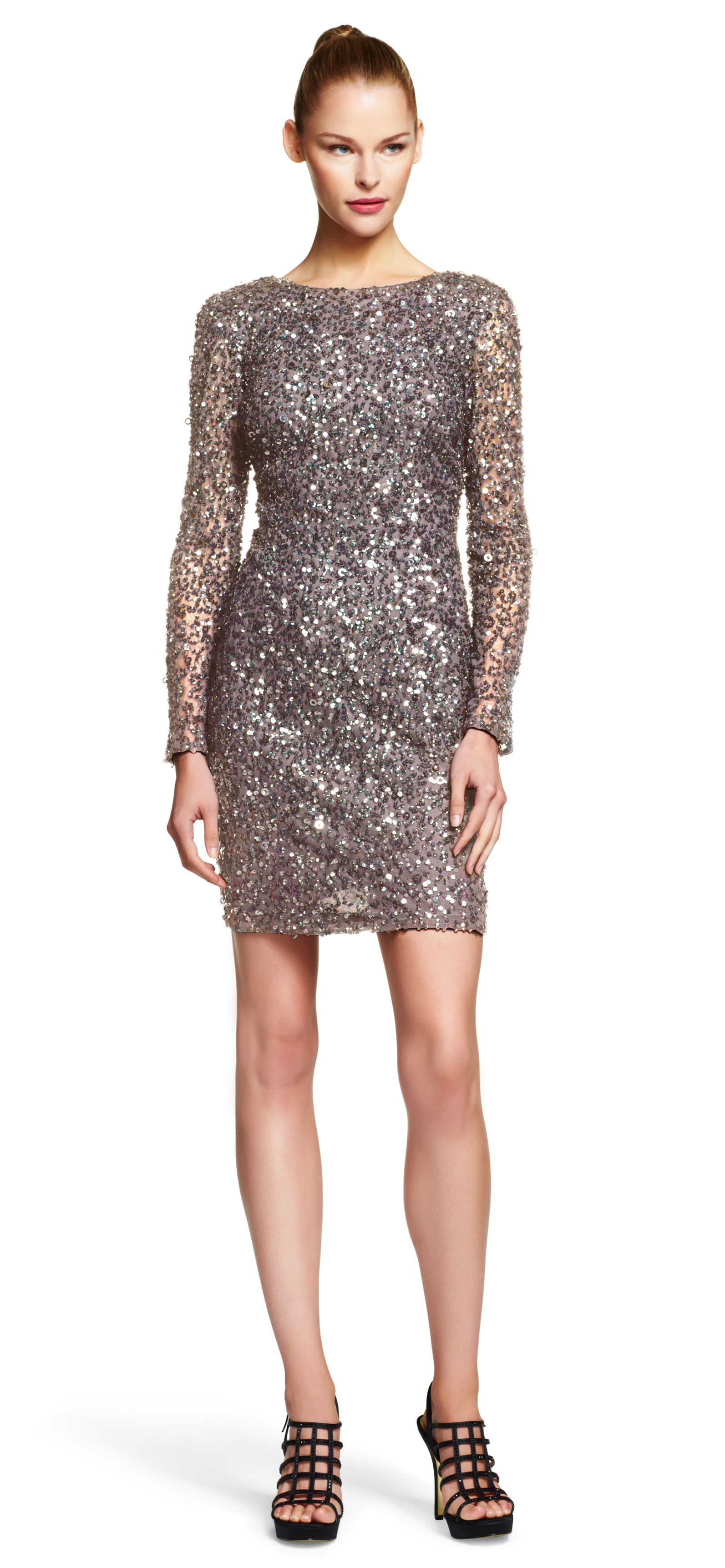Lyst - Adrianna Papell Long Sleeve Sequin Cocktail Dress ...