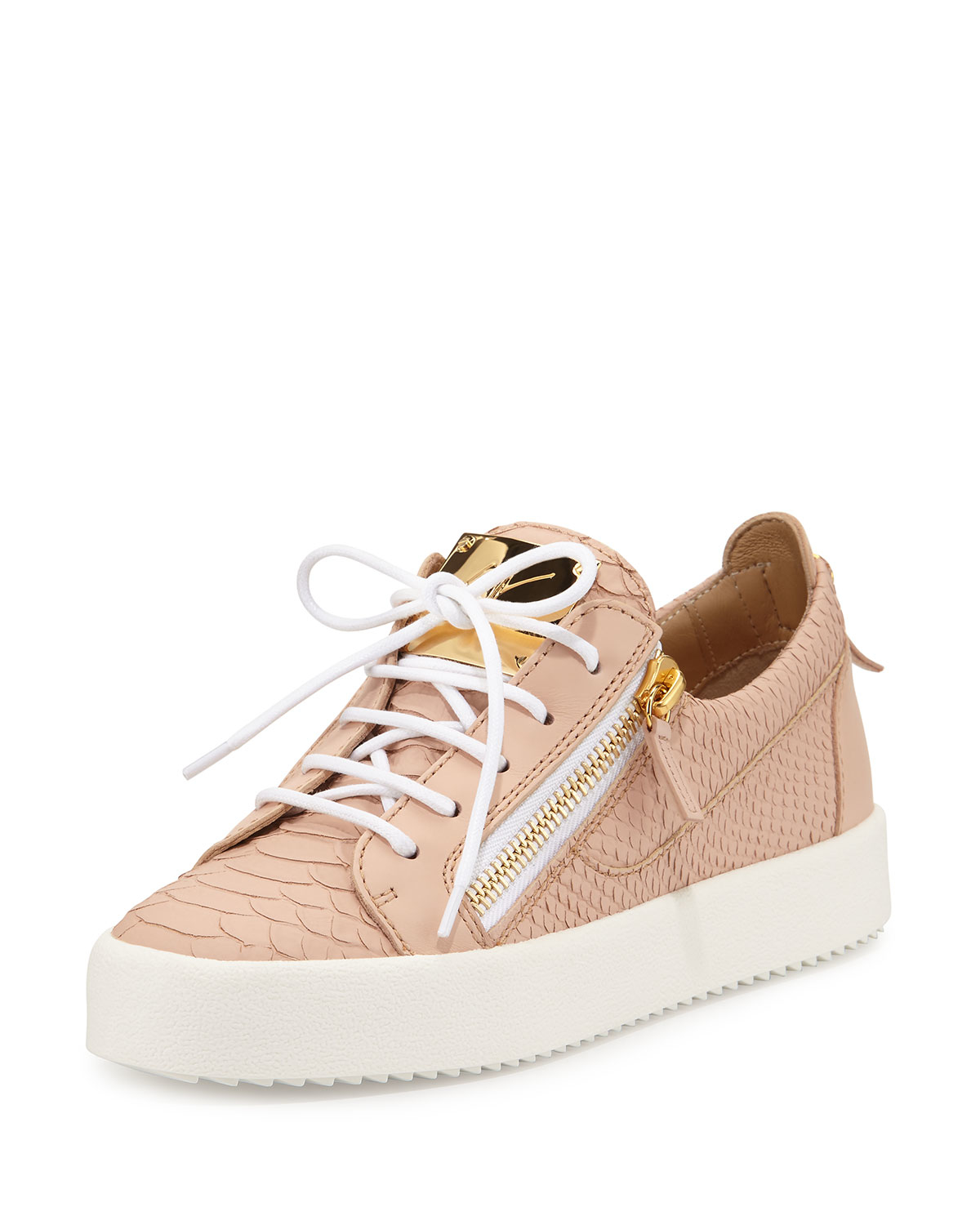 Lyst - Giuseppe Zanotti May Snake-embossed Lace-up Sneaker in Pink 52ca0ce8bec9