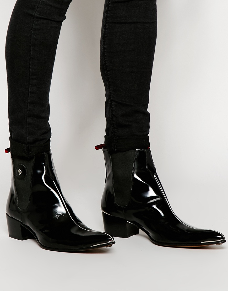 Lyst Jeffery West Leather Piping Chelsea Boots In Black